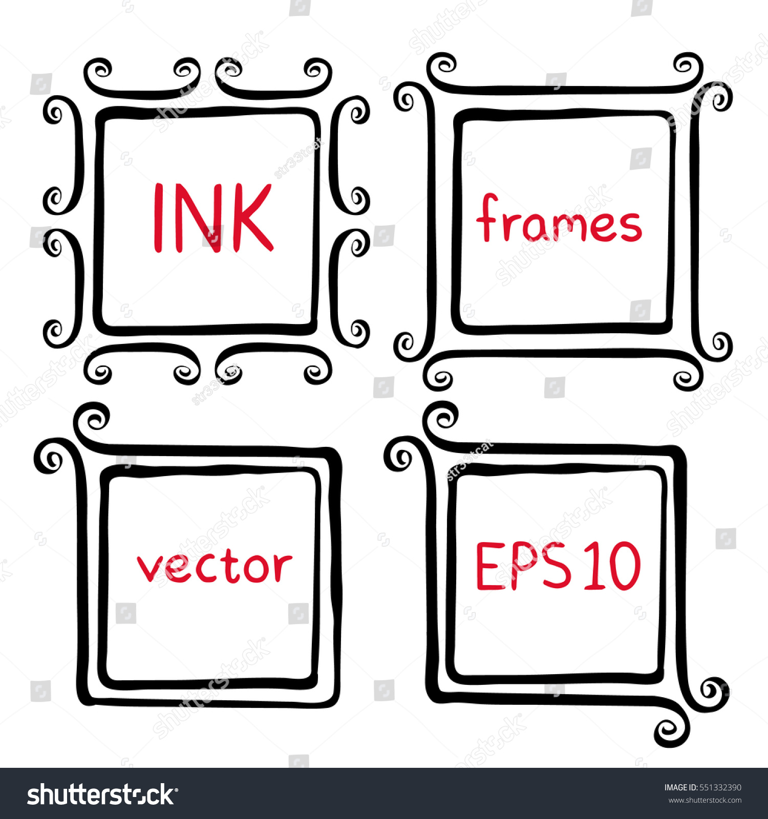 Hand Painted Ink Frames Set Ink Stock Vector (Royalty Free ...