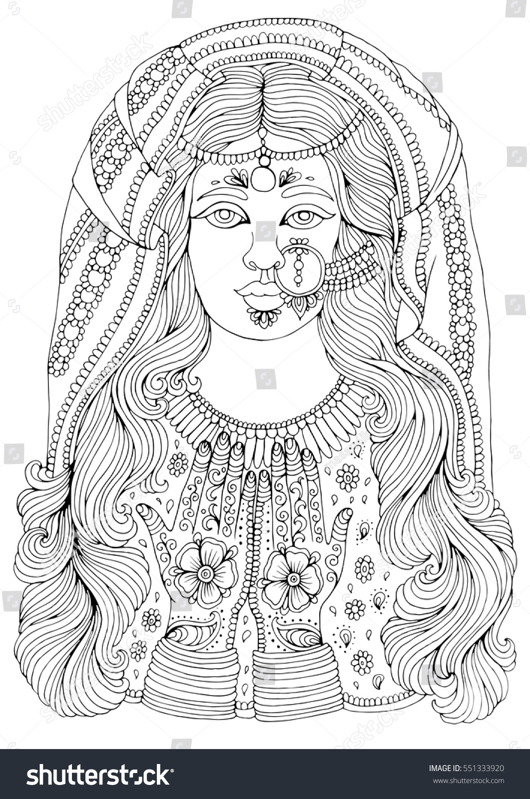 vector hand drawn portrait of an indian girl with a pattern mehendi on the hands