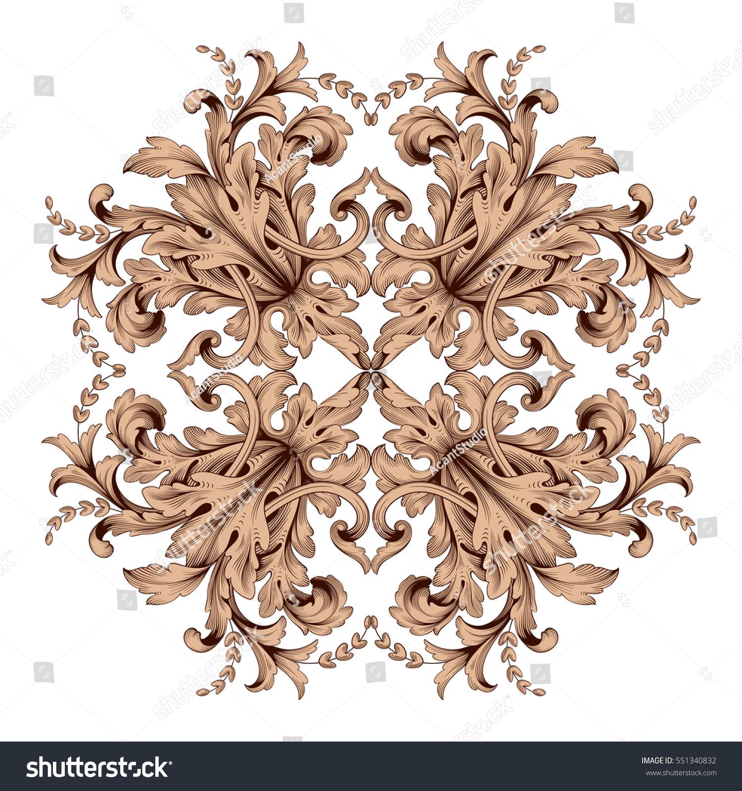 Vintage baroque ornament retro pattern antique stock for Baroque design clothes