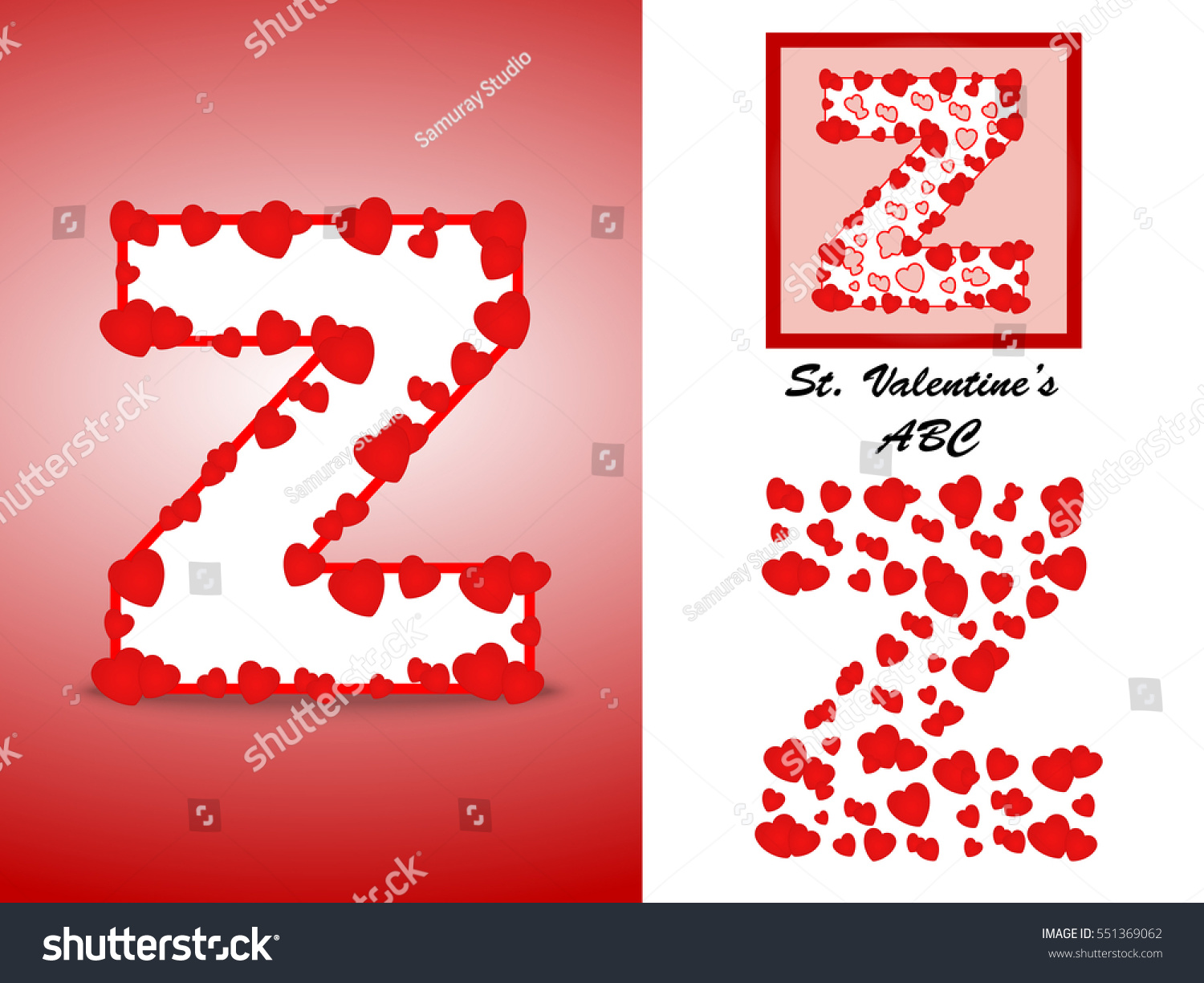 Alphabet Letter Z Red Heart Valentine Stock Vector (Royalty Free ...