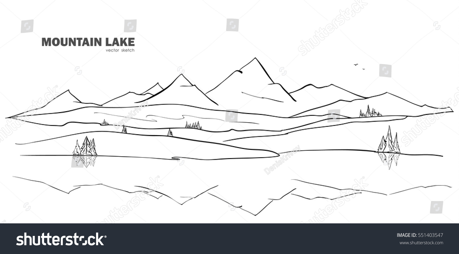 Drawing Lines Of Reflection : Vector illustration hand drawn mountain lake stock