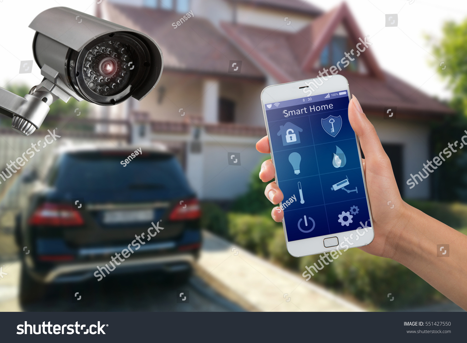 Security camera smart home app private stock photo 551427550 security camera and smart home app private house on the background buycottarizona Gallery