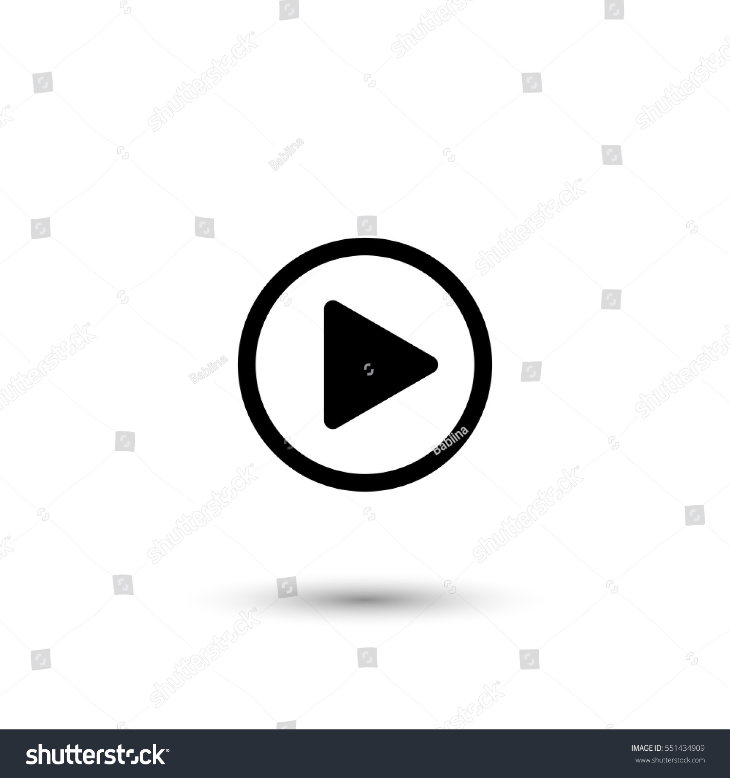 Play button vector icon with round  shadow #551434909