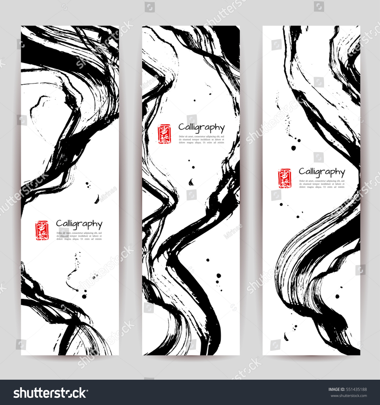 Vertical banners set modern asian style stock vector