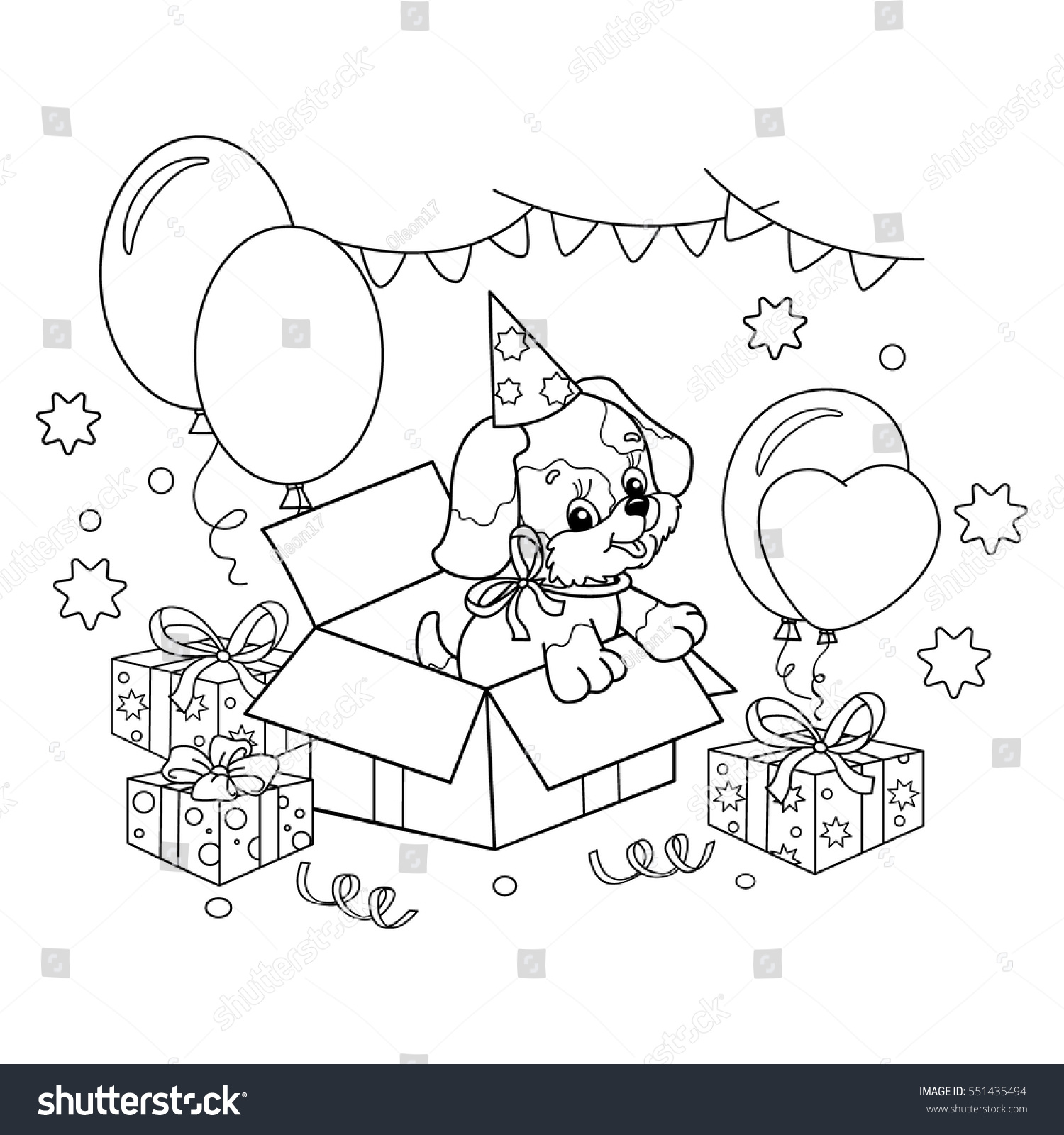 Coloring Page Outline Cute Puppy Cartoon Stock Vector (Royalty Free ...