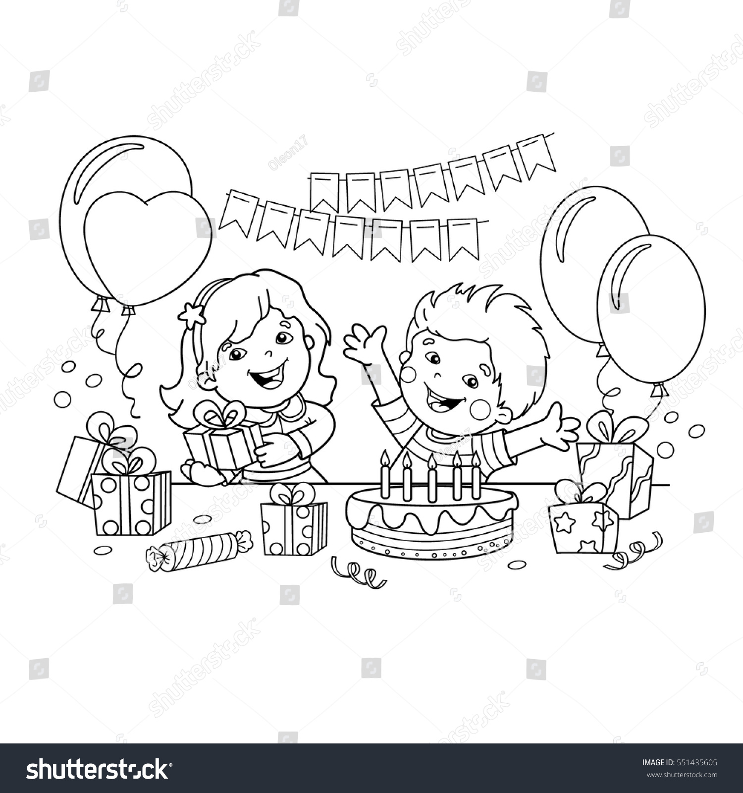 coloring page outline children gifts holiday stock vector