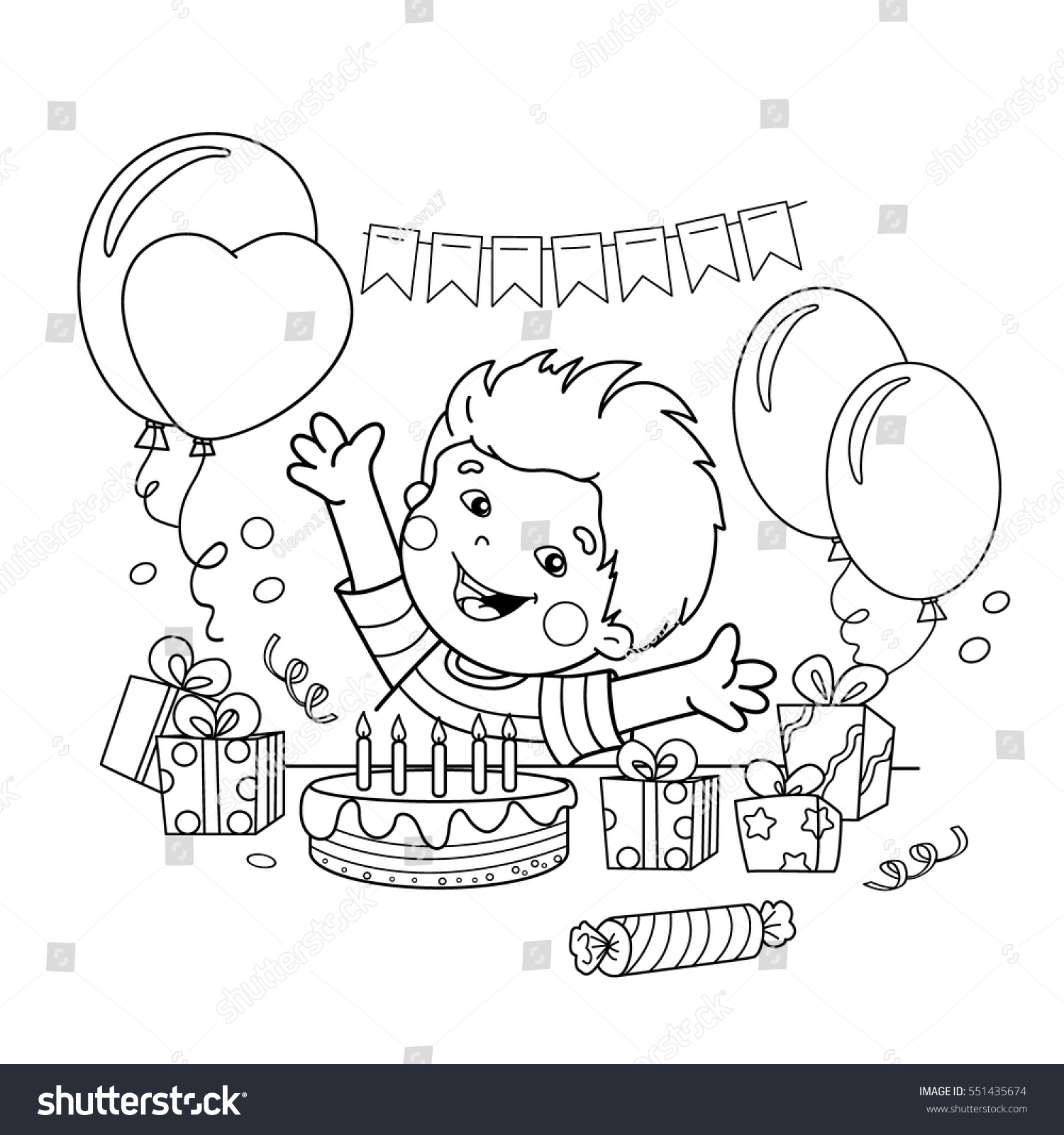 Coloring Page Outline Of Cartoon Boy With A Gifts At The Holiday Birthday