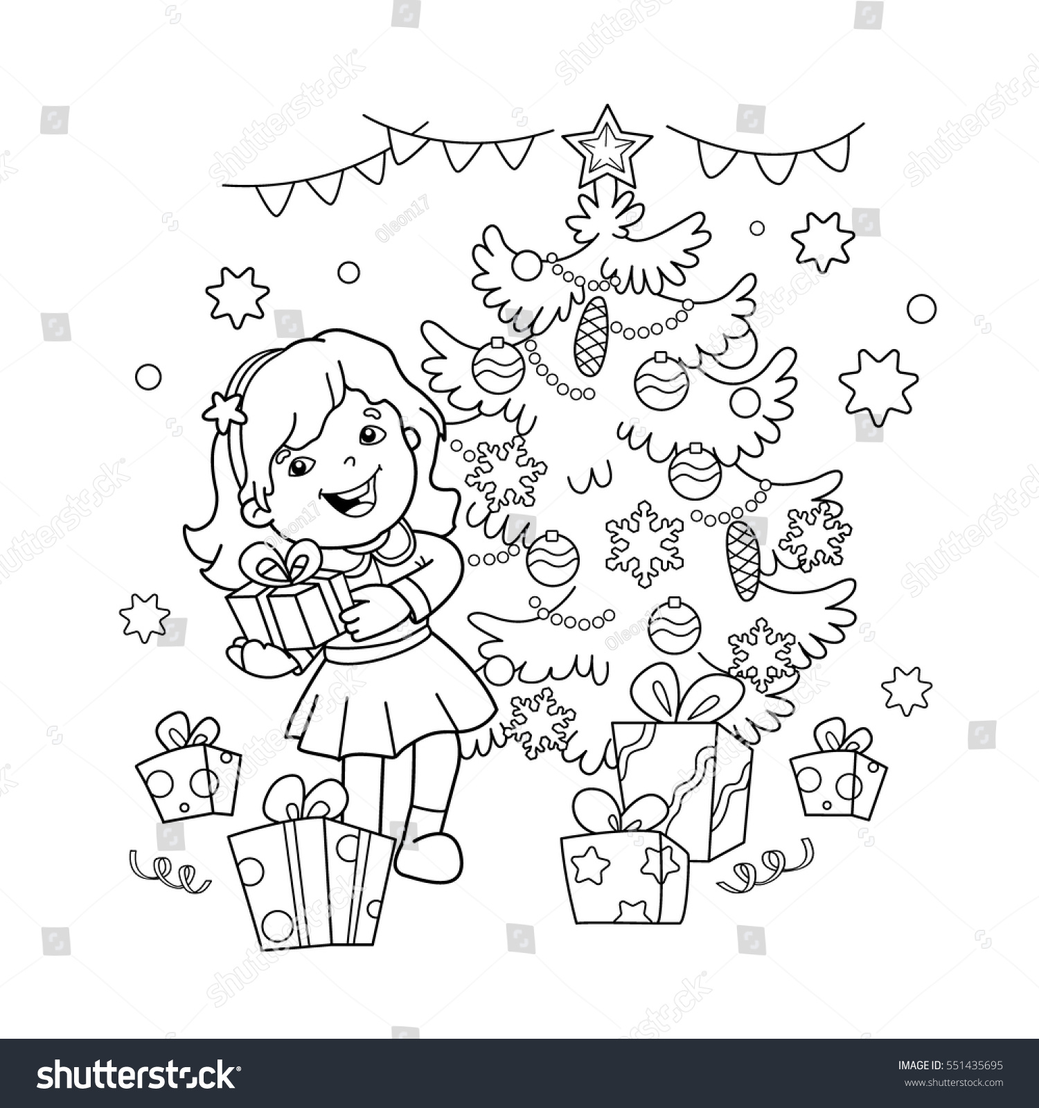 coloring page outline cartoon gift stock vector 551435695