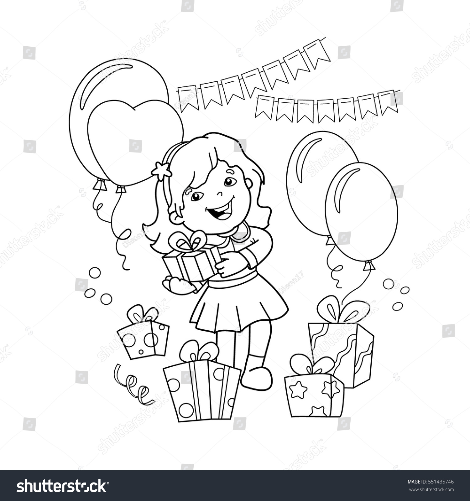 coloring page outline of cartoon girl with a gift at the holiday coloring book for - Holiday Coloring Book