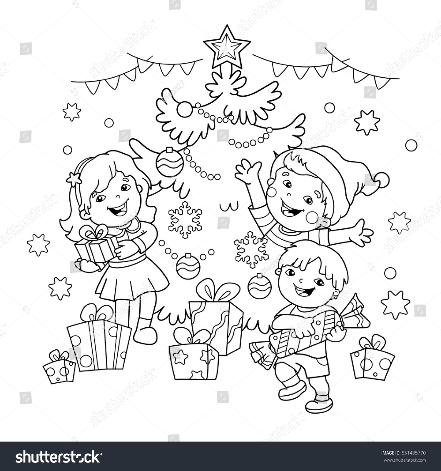 Coloring Page Outline Children Gifts Christmas Stock Vector