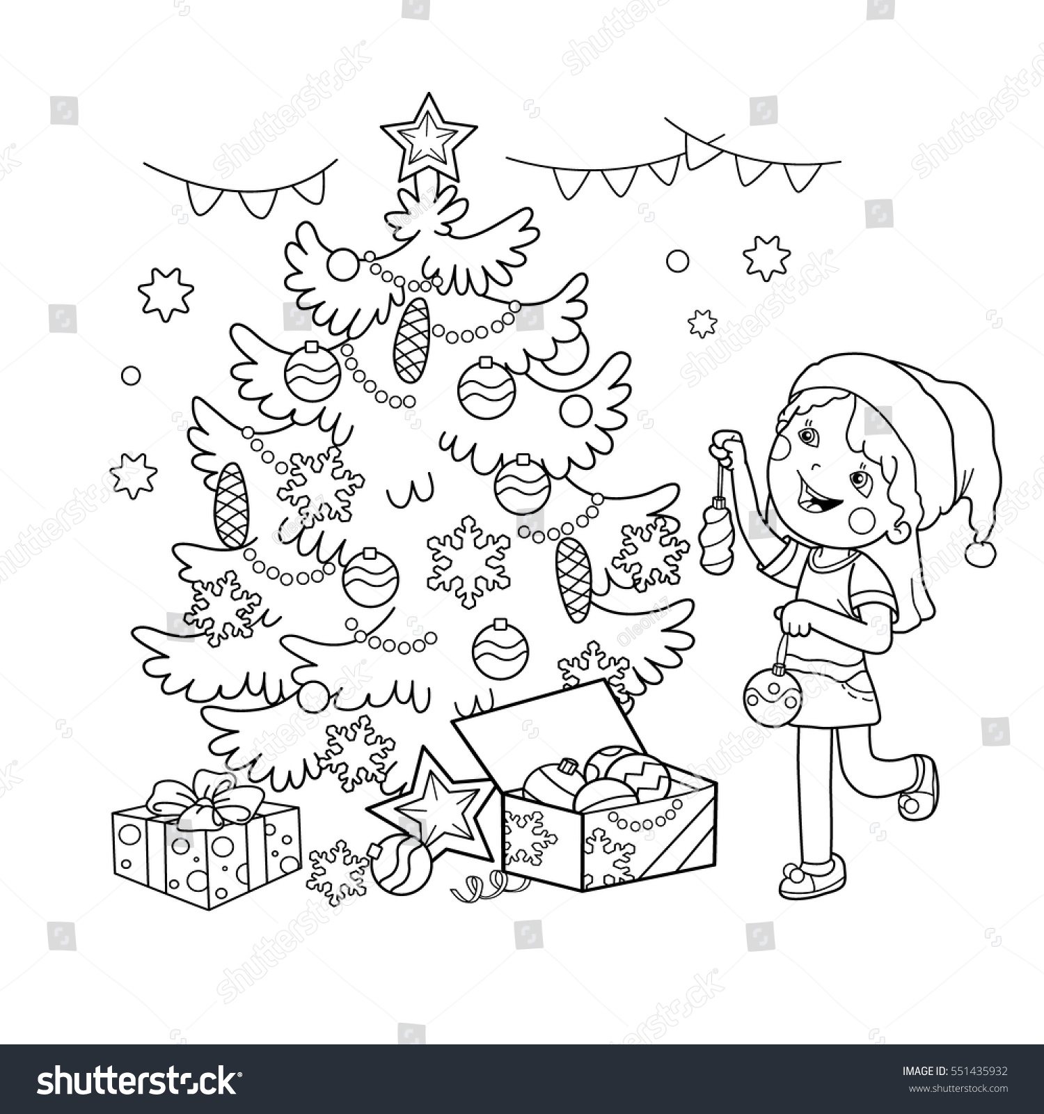 Coloring Page Outline Cartoon Girl Decorating Stock Vector