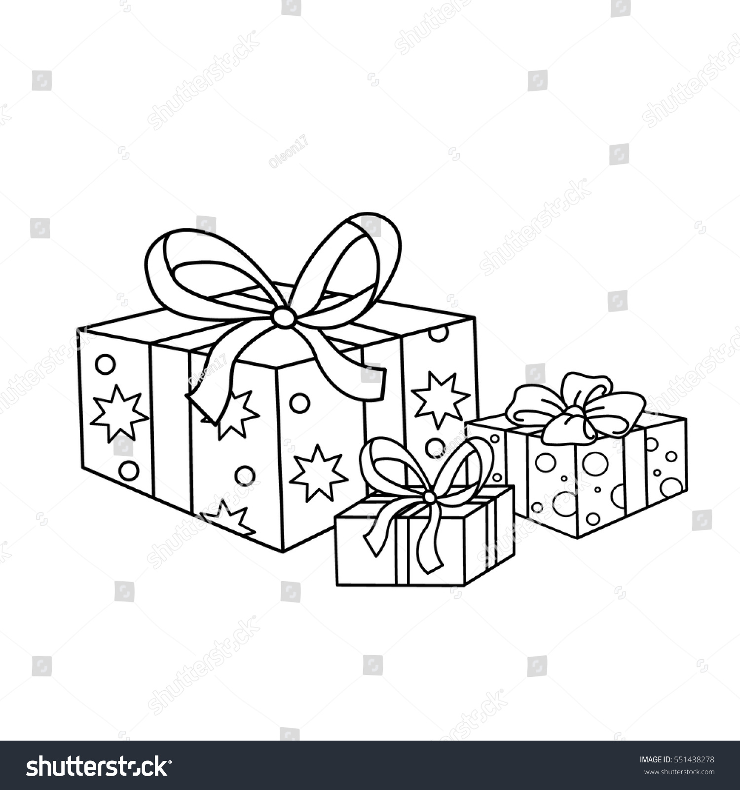 coloring page outline cartoon holiday gifts stock vector 551438278