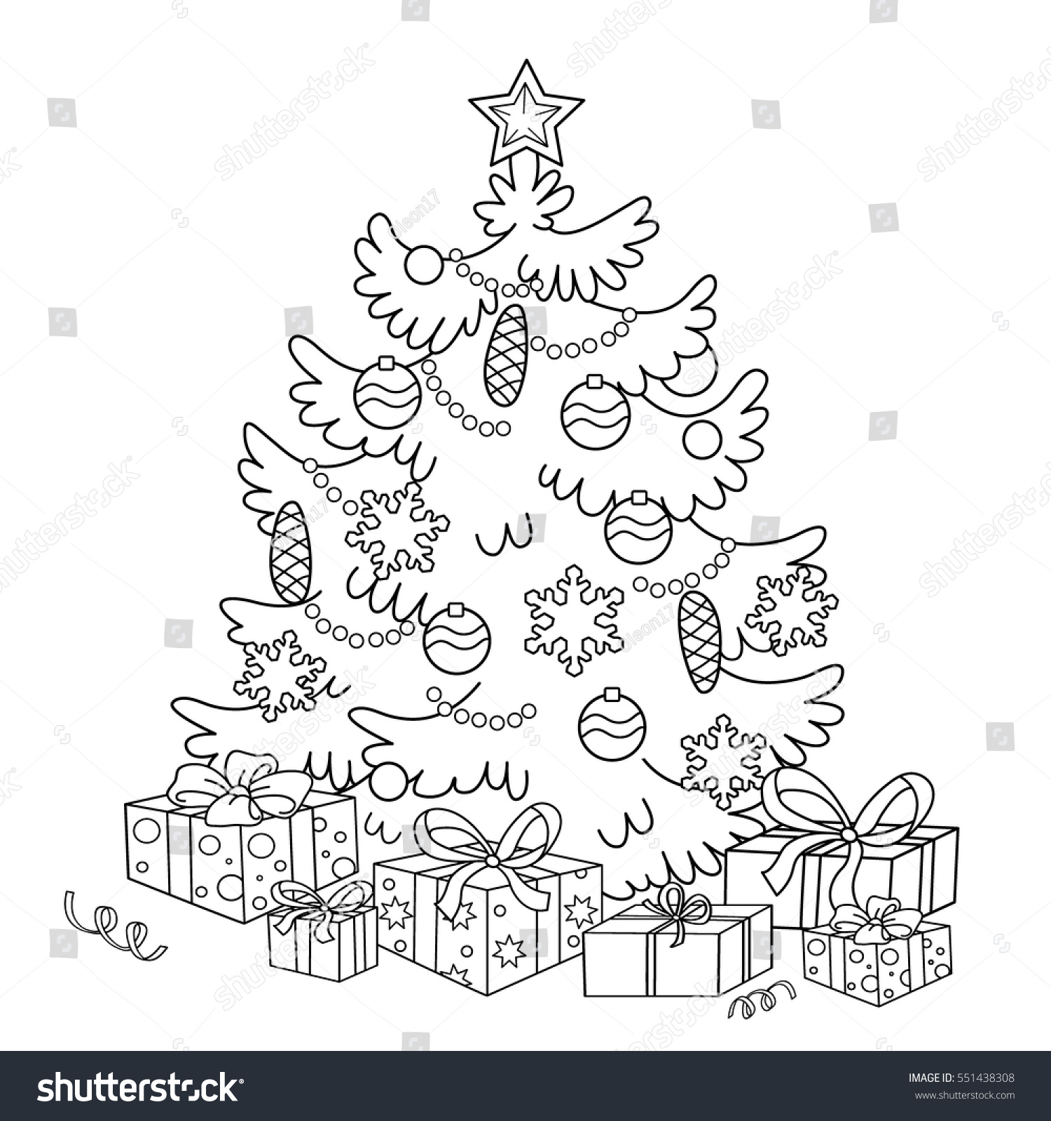 Coloring Page Outline Cartoon Christmas Tree Stock Vector Royalty