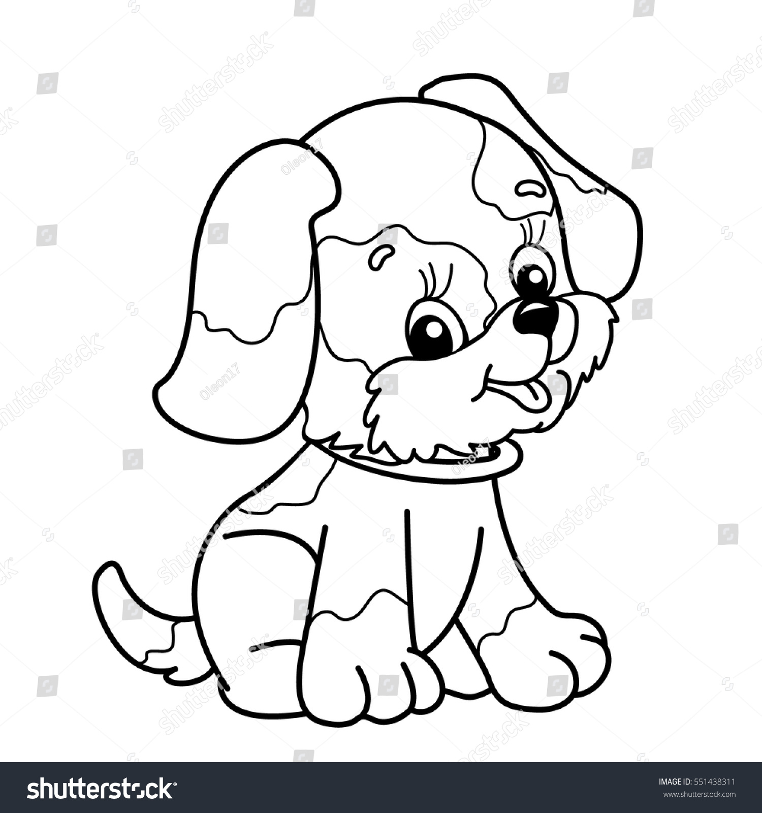 coloring page outline cartoon dog cute stock vector 551438311