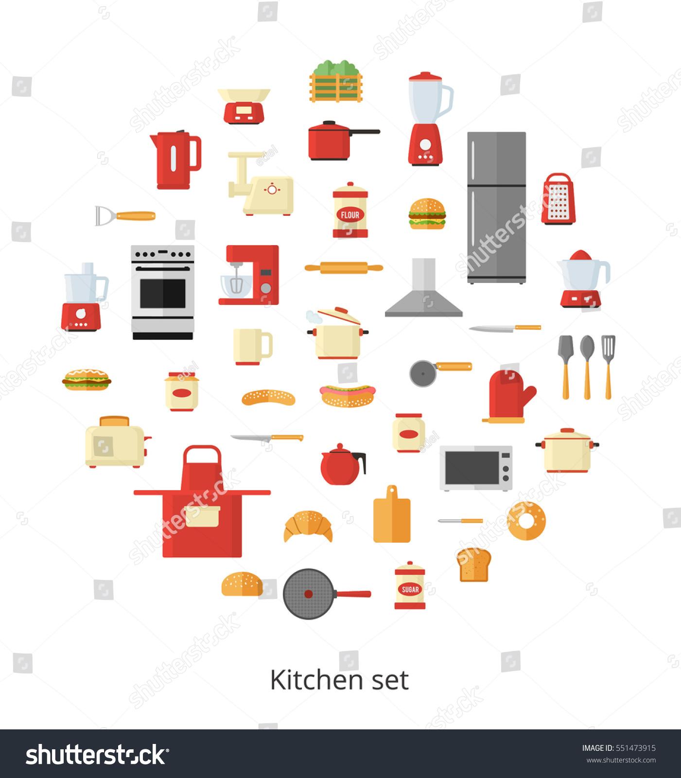 Kitchen Appliances Utensils Electrical Equipment Tools Stock Vector ...