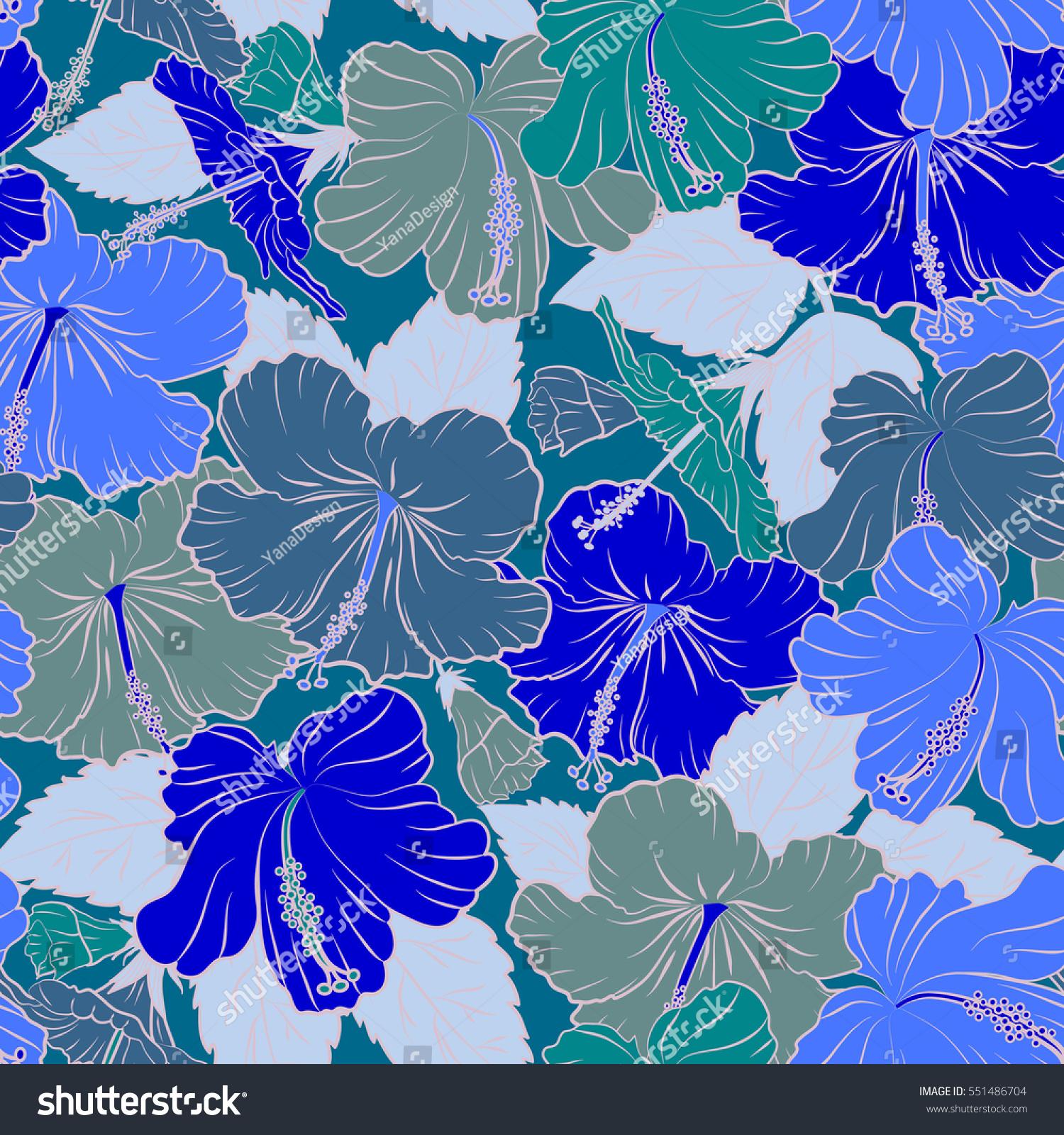 Bright Hawaiian Blue Tropical Hibiscus Flowers Stock Illustration