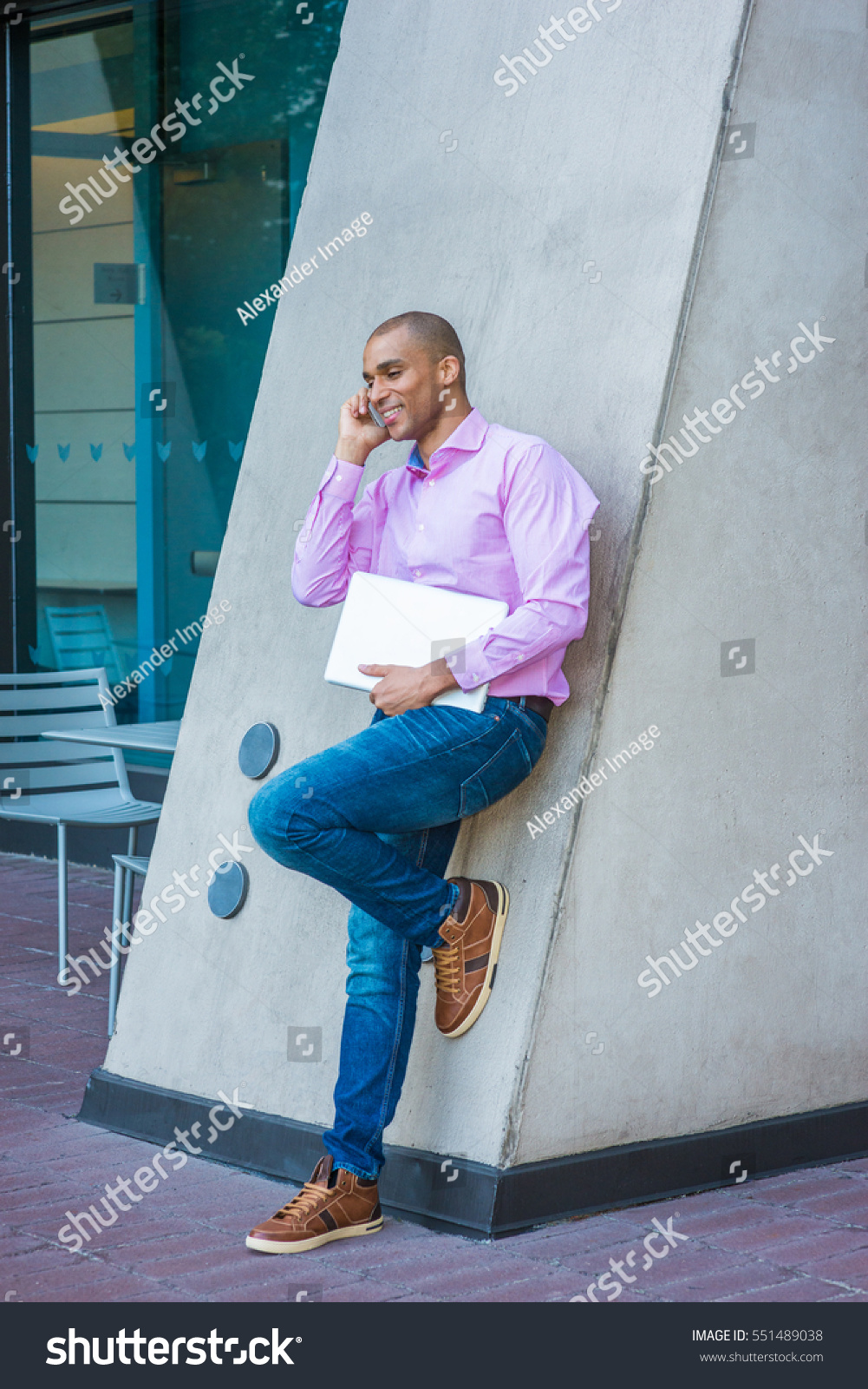 Wearing Pink Striped Shirt Jeans Brown Stock Photo Edit Now