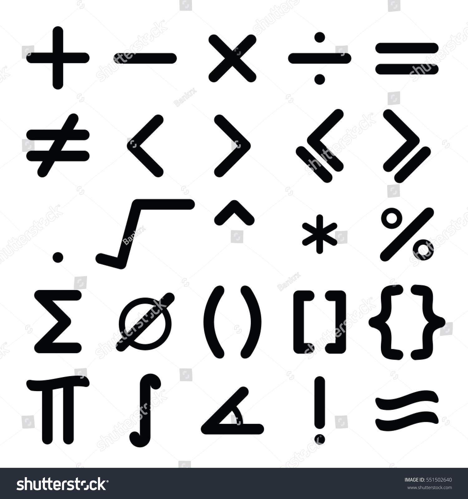 Black mathematical symbol icon set on stock vector 551502640 black mathematical symbol icon set on white background buycottarizona