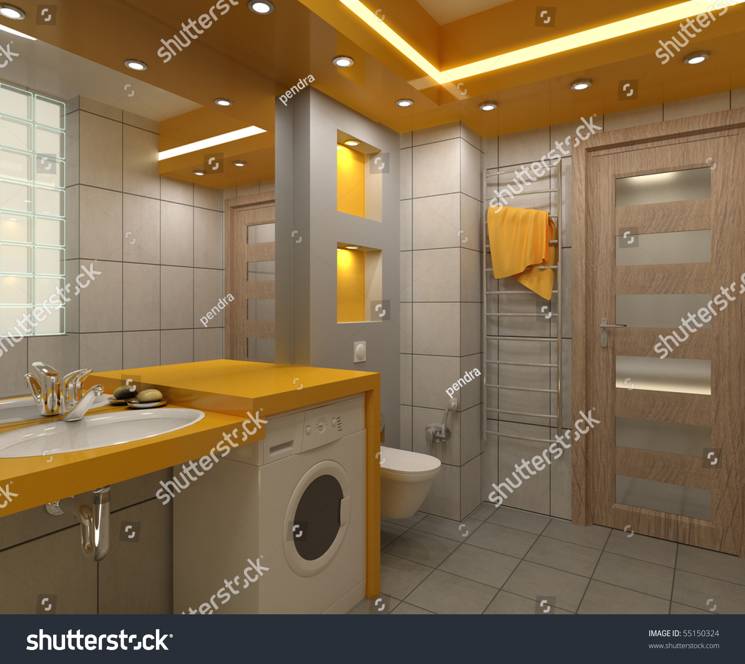 Yellow Bathroom Tile: Bathroom With Toilet And Shower In The Yellow Tile Stock