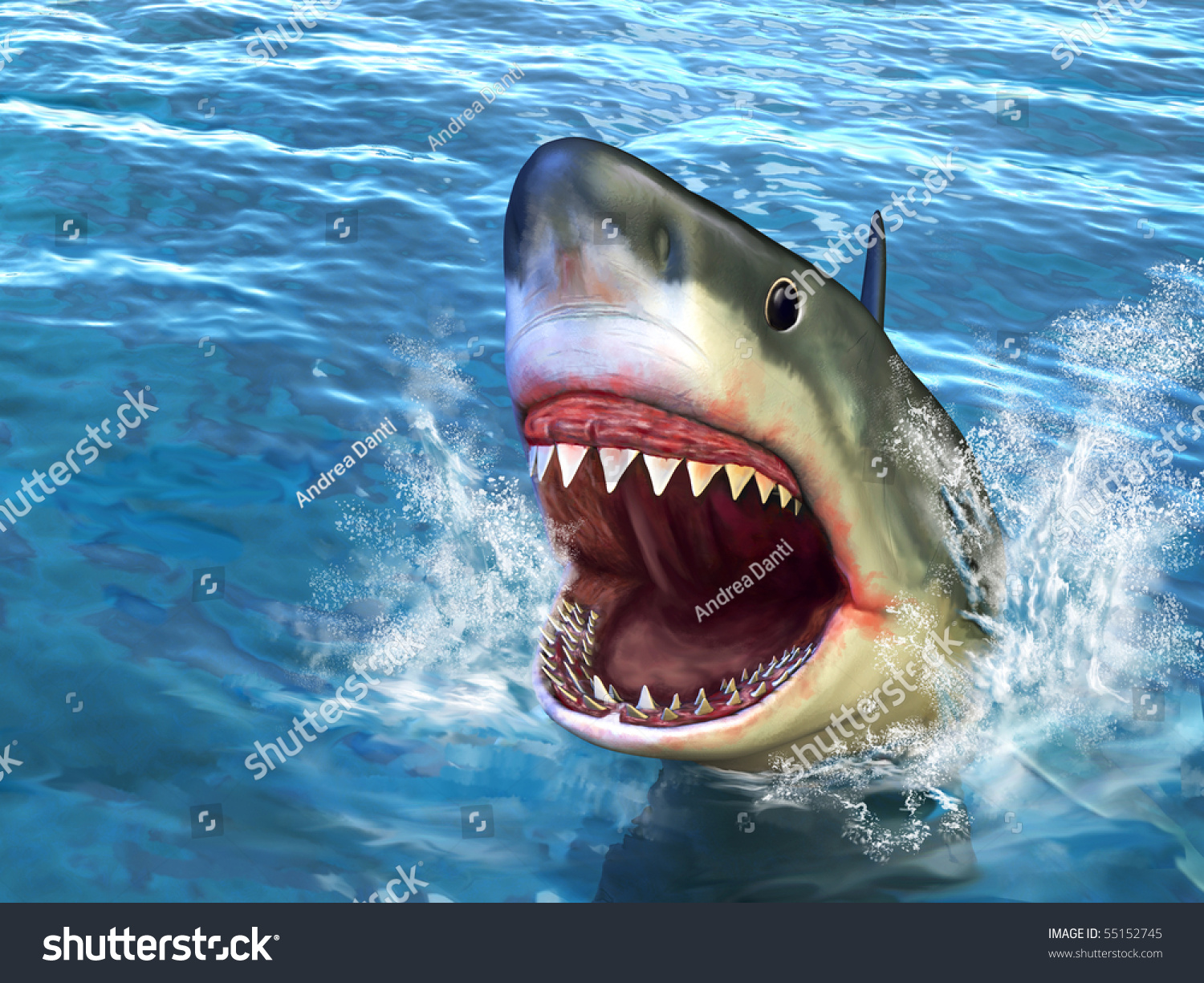 Great White Shark Jumping Out Water Stock Illustration ...