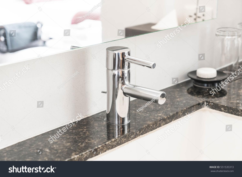 Faucet sink decoration in bathroom interior   EZ Canvas