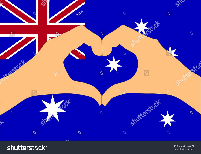 vector illustration australia flag hands making stock vector