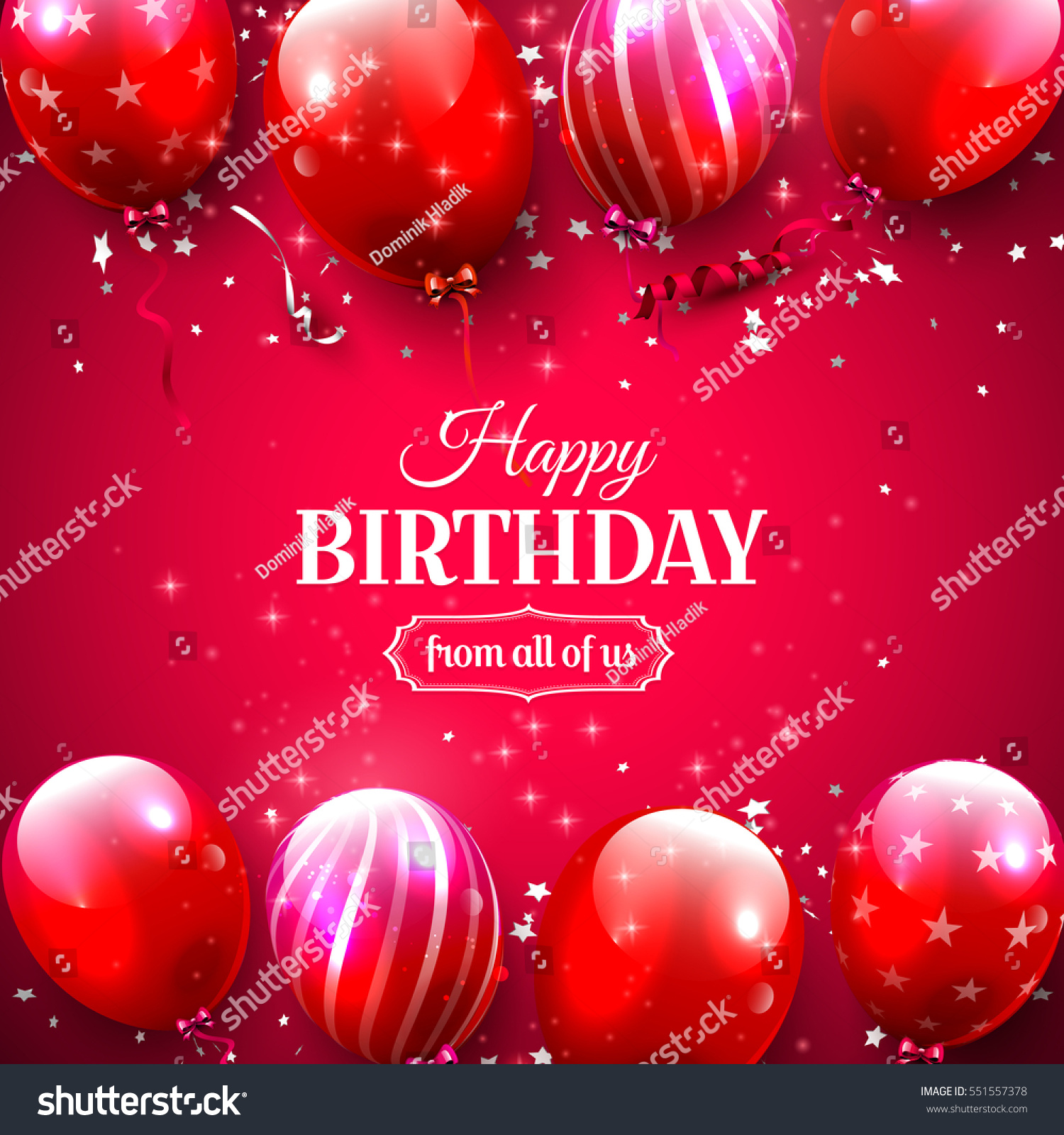 Luxury Birthday Greeting Card Red Balloons Stock Vector Royalty
