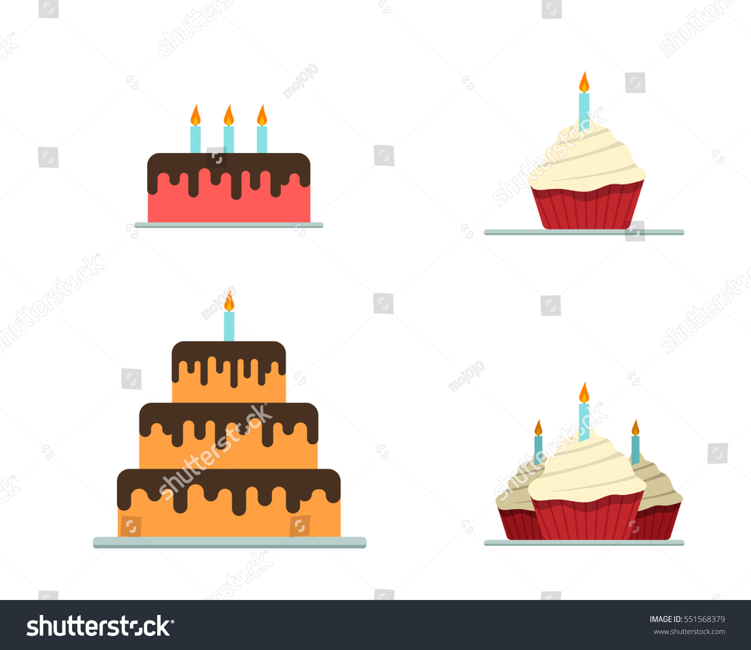 Cake Icons Flat Style Vector Stock Vector Royalty Free 551568379