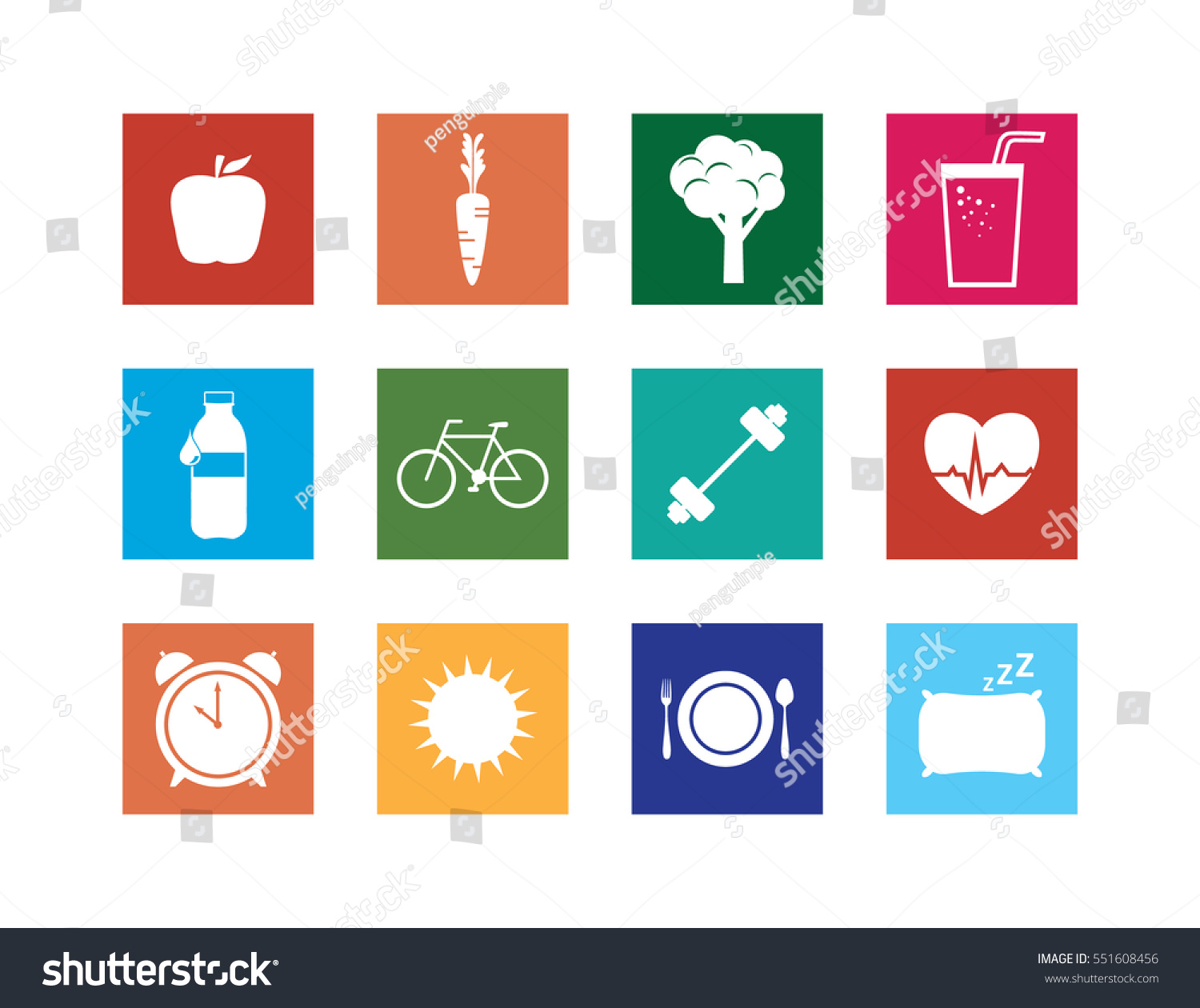 Collection Healthy Lifestyle Icons Set Vector Stock Vector Royalty