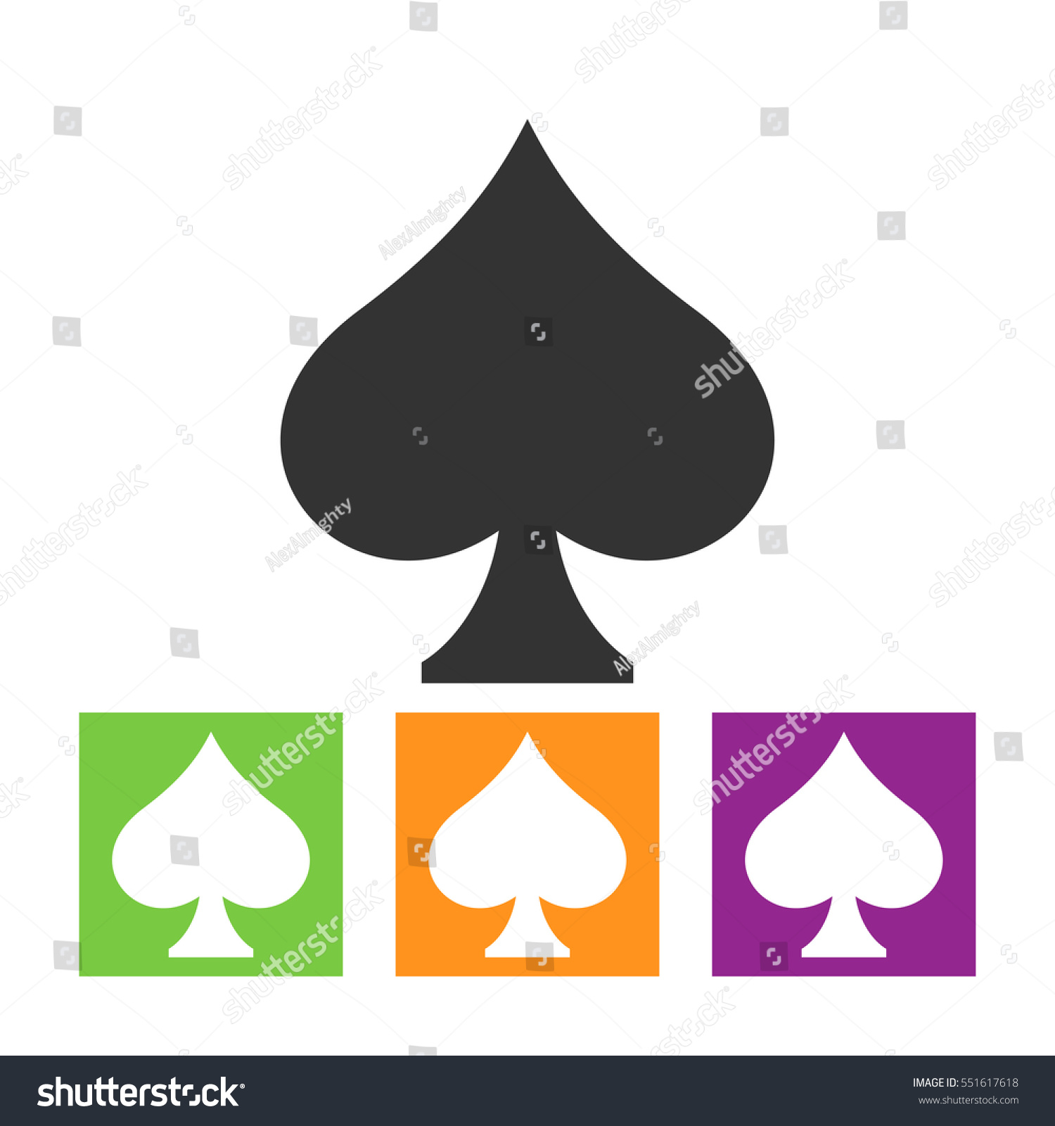 Playing Card Spade Suit Flat Icon Stock Vector 551617618 Shutterstock