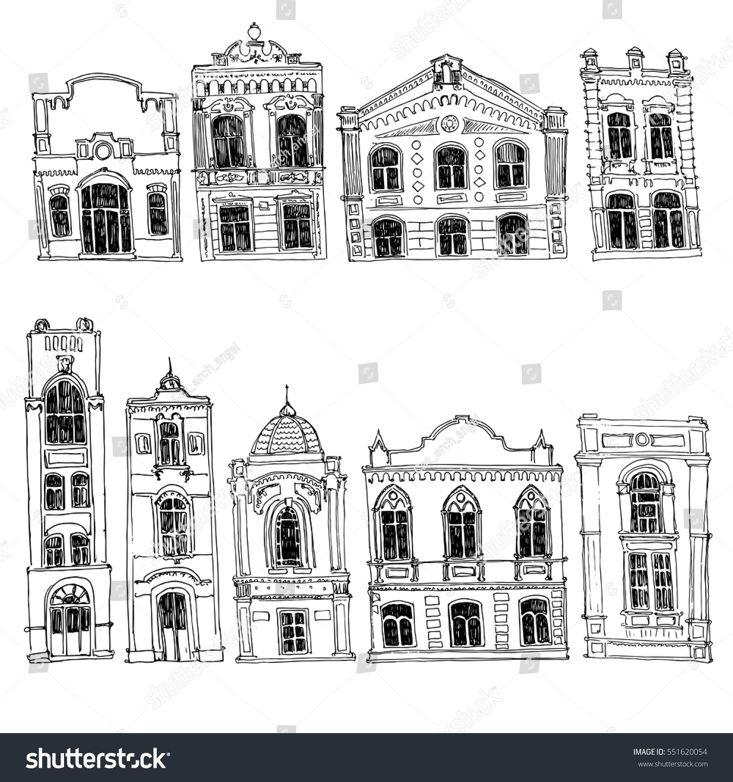 Vector Set Of Different Houses Line Drawing Mansions Sketch Buildings Urban Elements