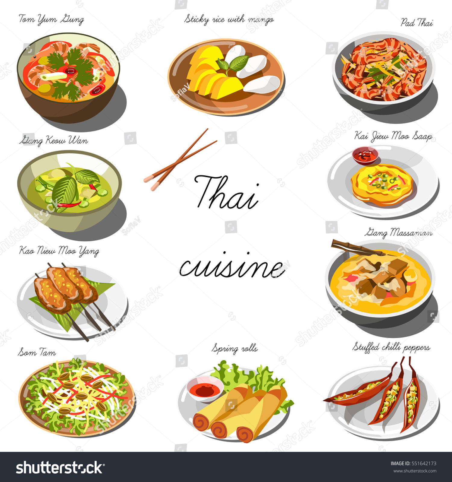 Thai cuisine set collection food dishes stock vector for About thai cuisine