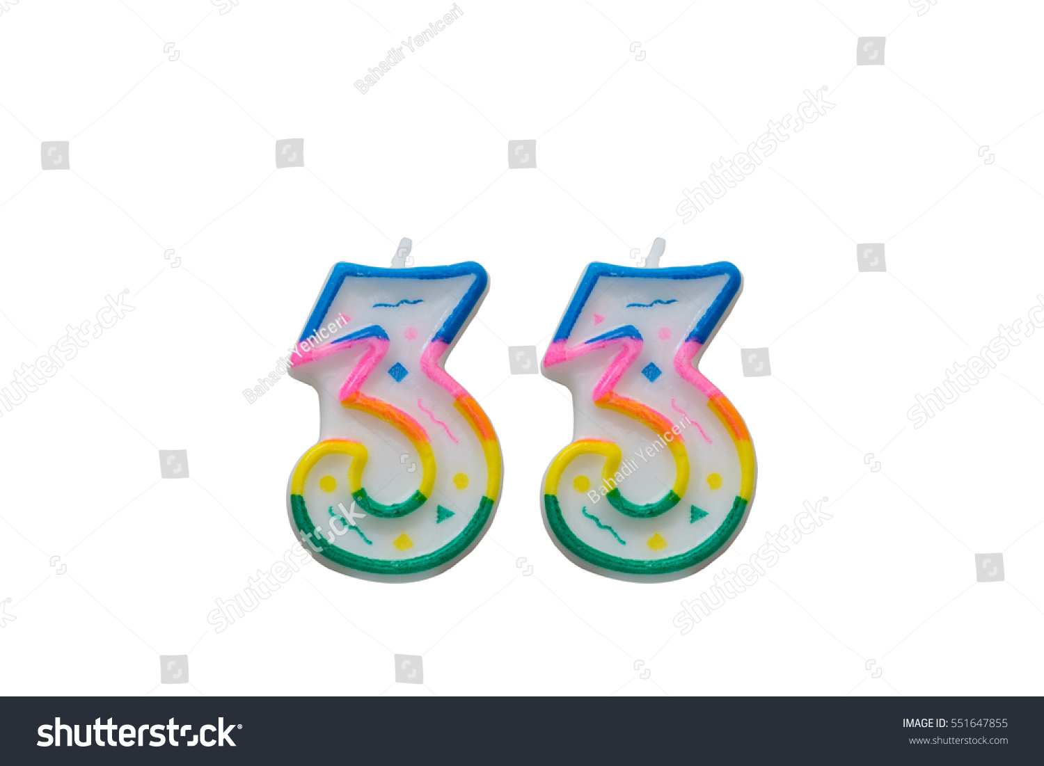 Number 33 free picture of the number thirty three - Colourful Cake Candles Number Thirty Three 33 Isolated On White Background 551647855