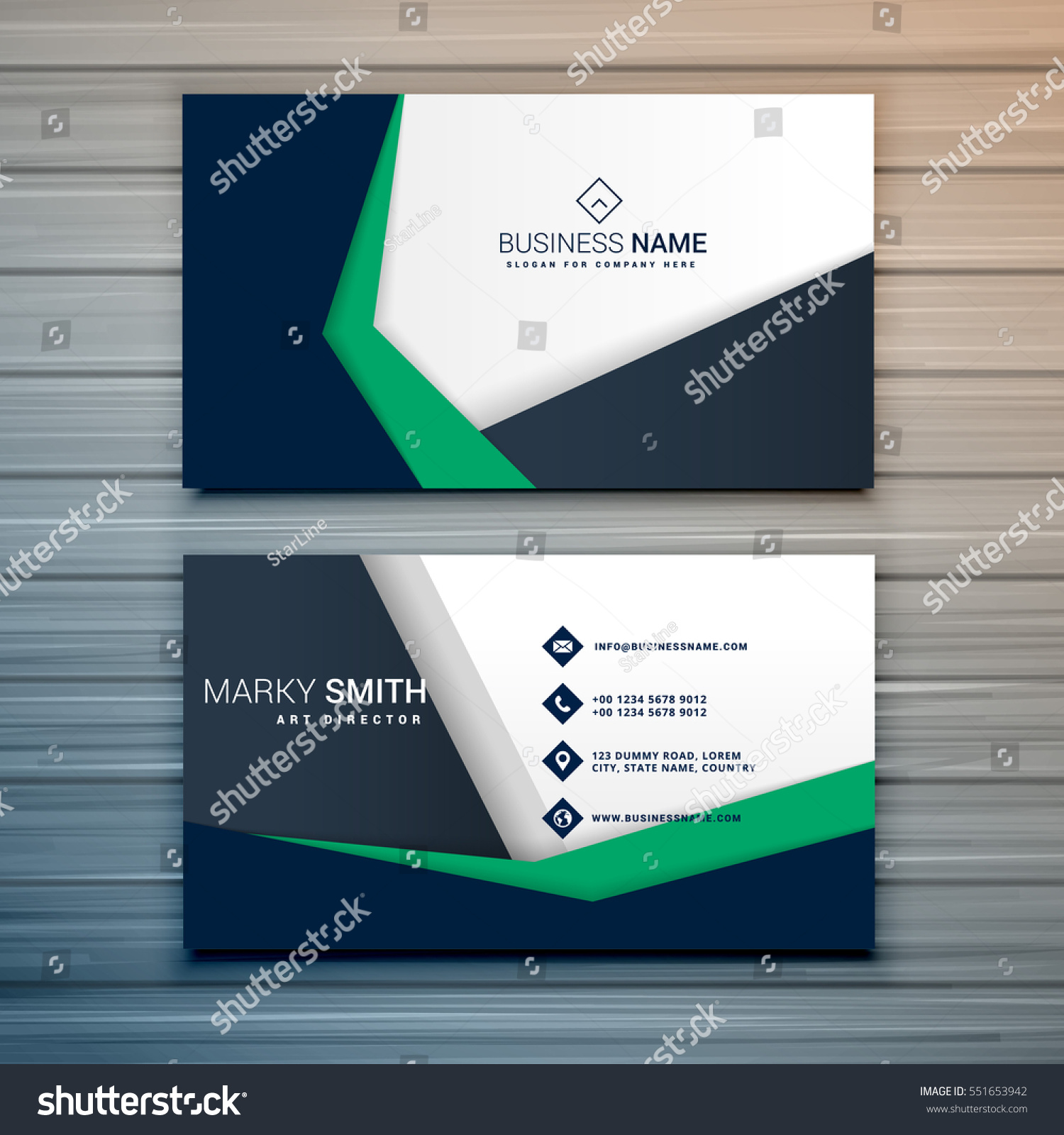 Company Business Card Design Abstract Geometric Stock Vector ...
