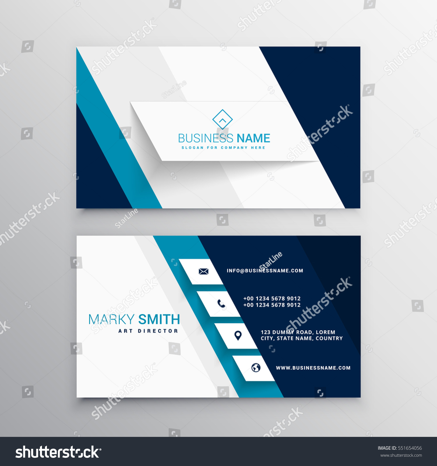 modern blue white business card template stock vector