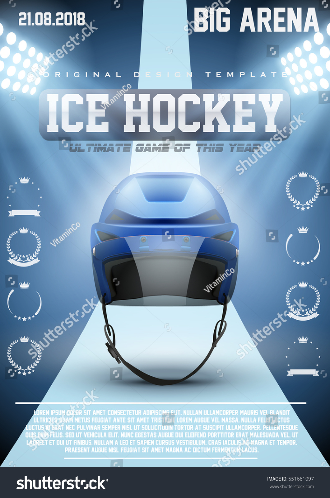 Poster Template Ice Hockey Games With Player Helmet Cup And Tournament Advertising Sport Event