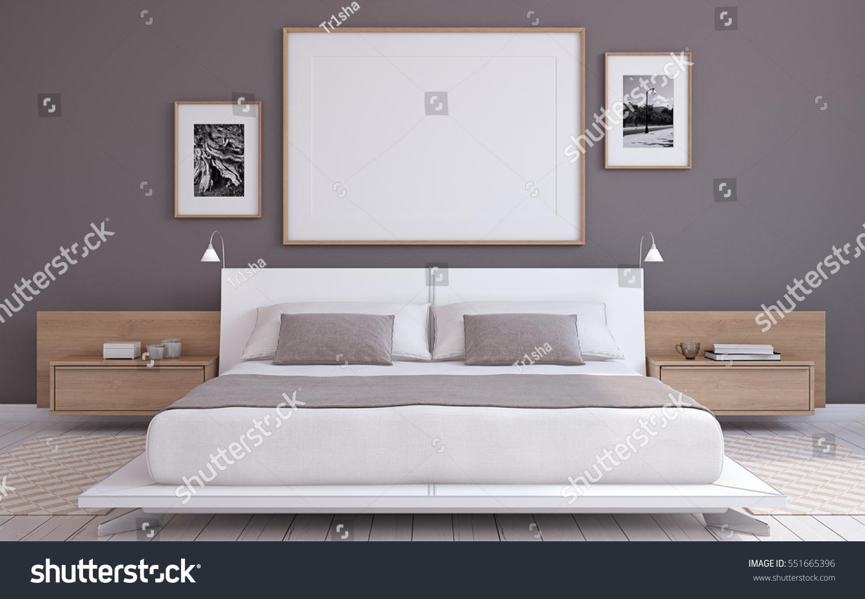modern bedroom interior frame mockup 3d render