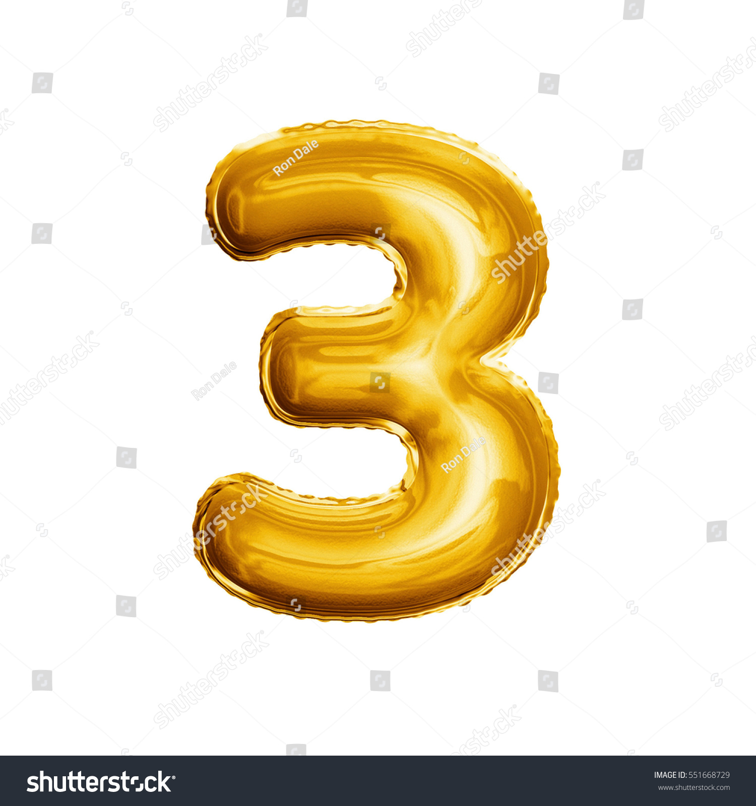 Balloon Number 3 Three Realistic D Stockillustration 551668729 Baloon 3d Isolated Gold Helium Abc Alphabet Golden Font Text