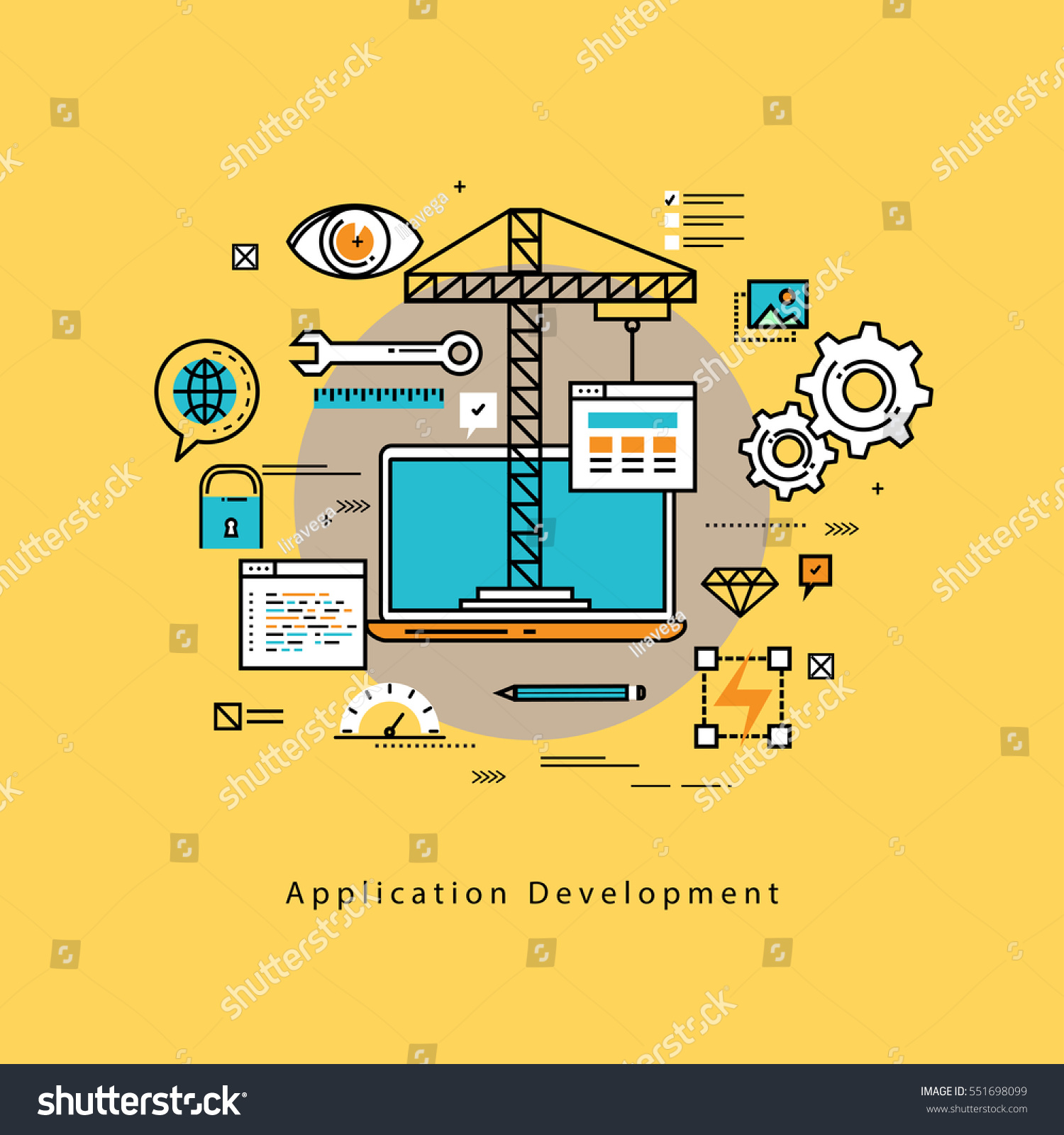 Application Development Flat Line Business Vector Stock