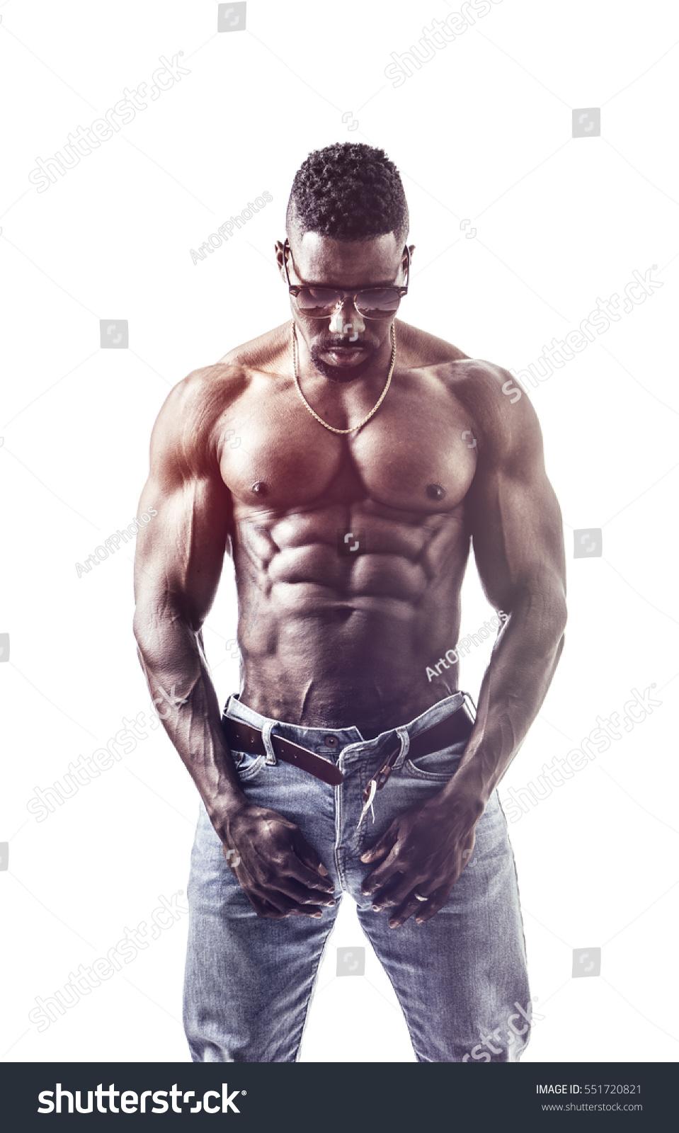 Studio Shot Of Muscular Handsome African Man Shirtless