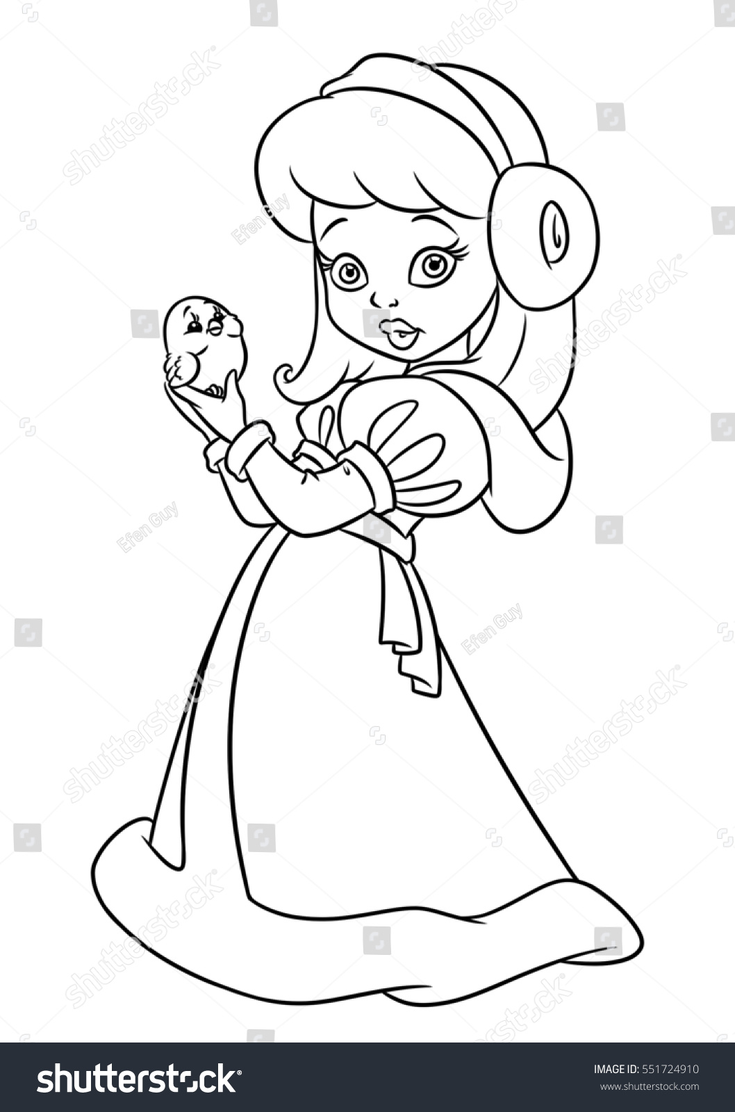 Girl Winter Coat Beauty Coloring Pages Stock Illustration 551724910 ...