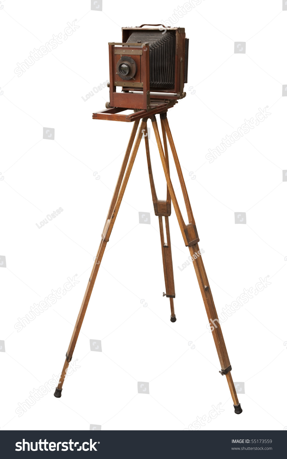 Antique Wood View Camera Tripod Isolated Stock Photo