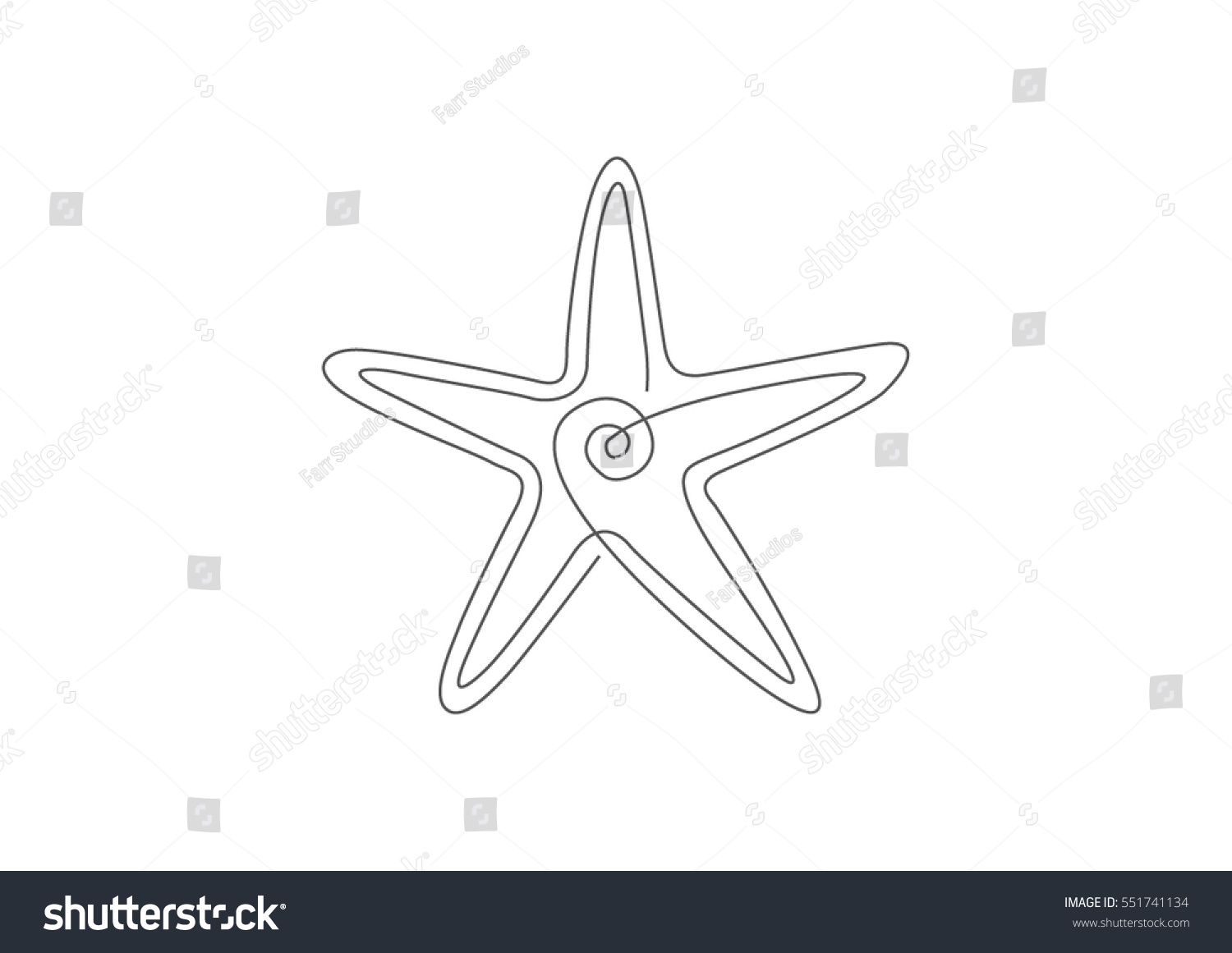 one line drawing starfish stock vector royalty free 551741134