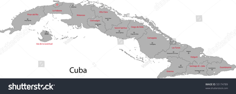 Map Cuba Provinces Capital Cities Stock Vector Shutterstock - Cuba provinces map