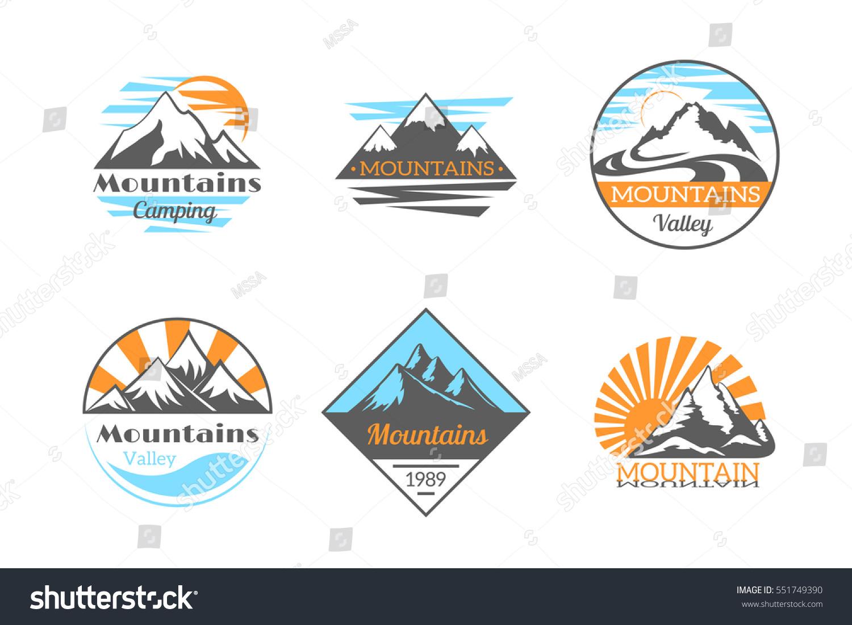 Mountains Vector Logo Set Mountain Rock Vector de stock551749390 ...