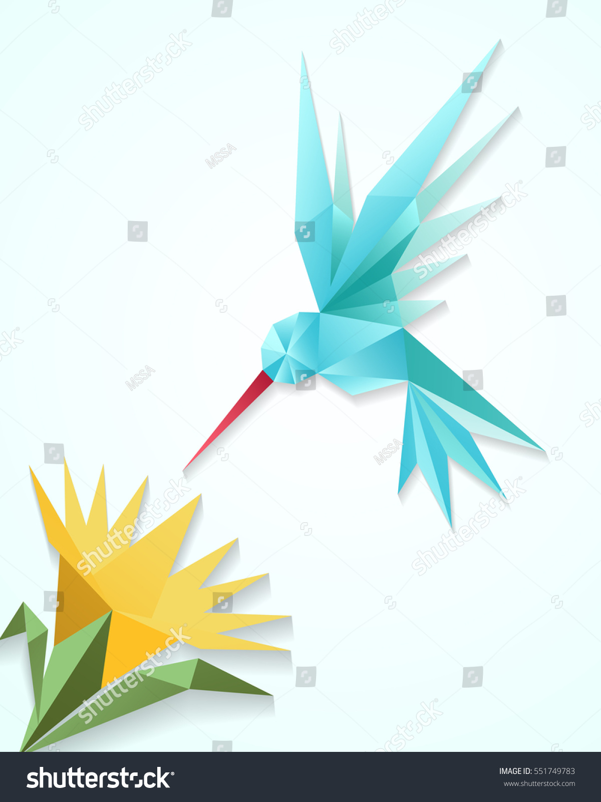 Origami Hummingbird Flower Paper 3d Humming Stock Vector ... - photo#29