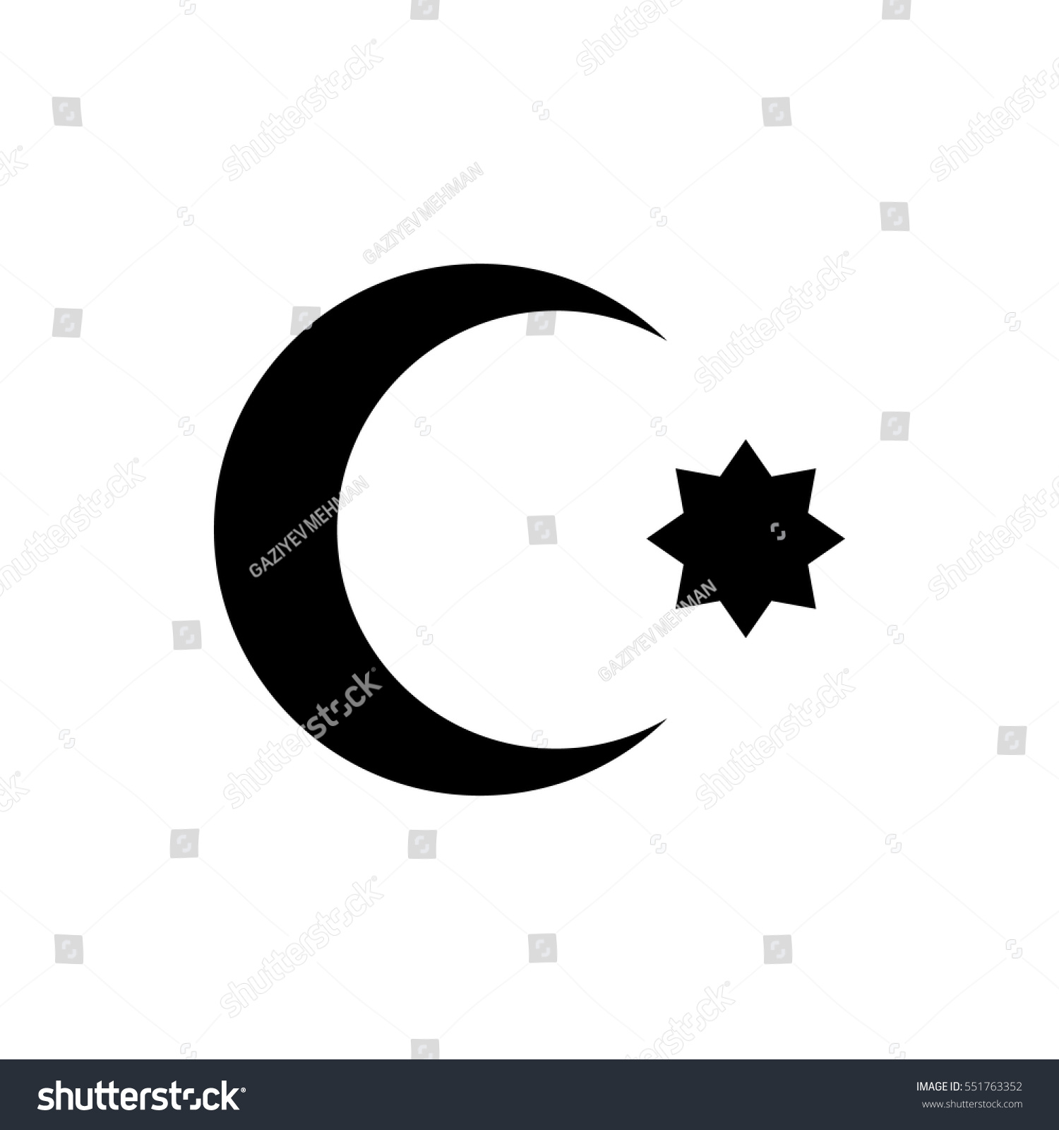 Symbol Islam Star Crescent Stock Vector Royalty Free 551763352