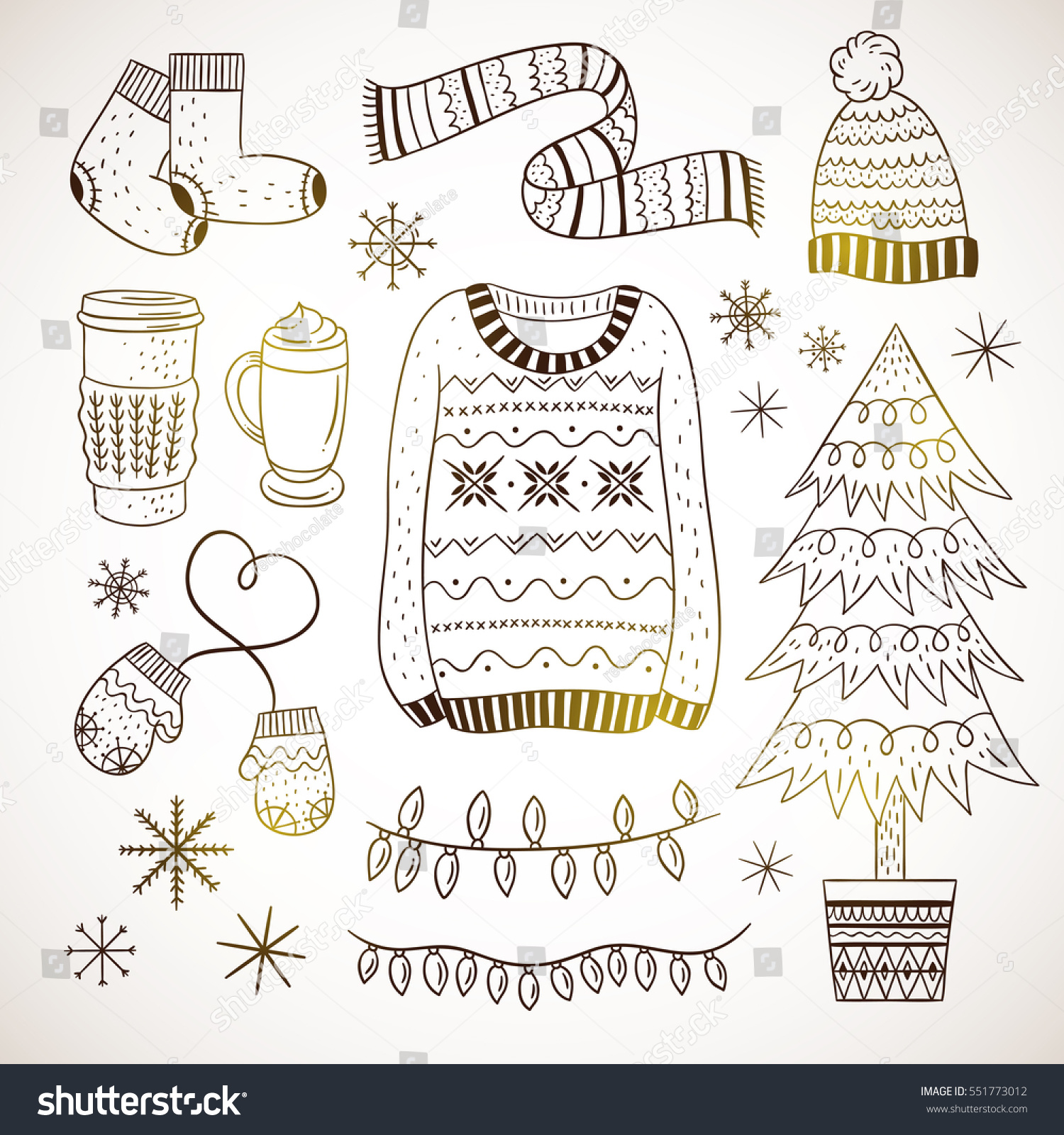 Outline Winter Elements Hand Drawn Illustrations Stock ...