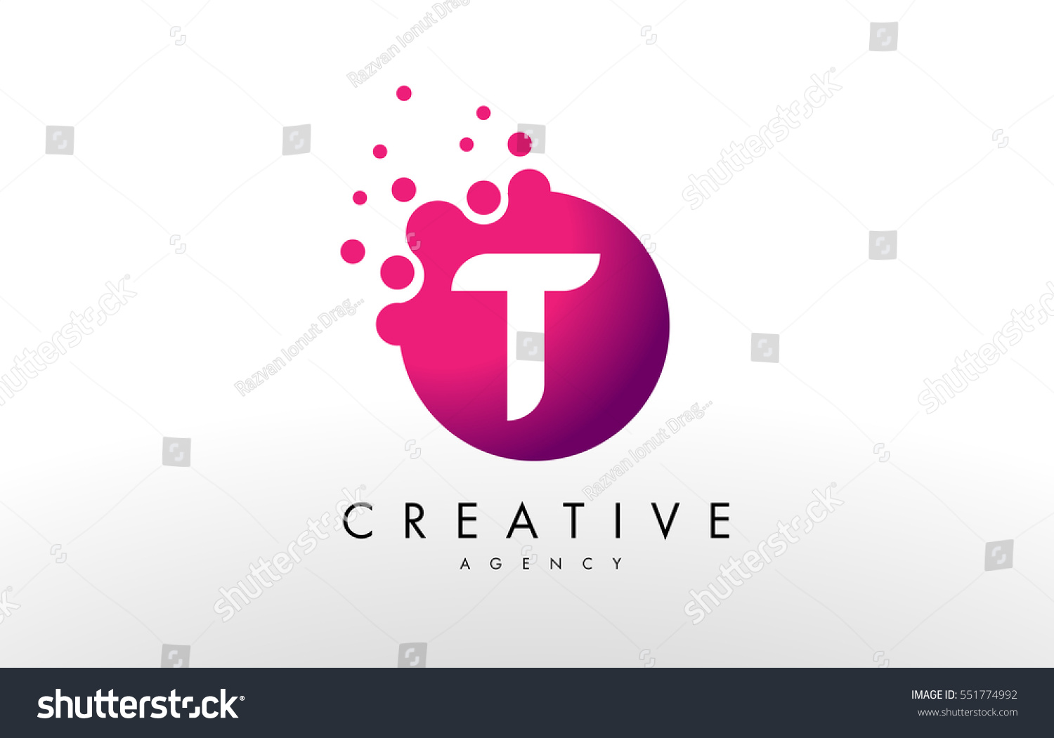 Dots Letter T Logo T Letter Stock Vector (Royalty Free) 551774992 ...