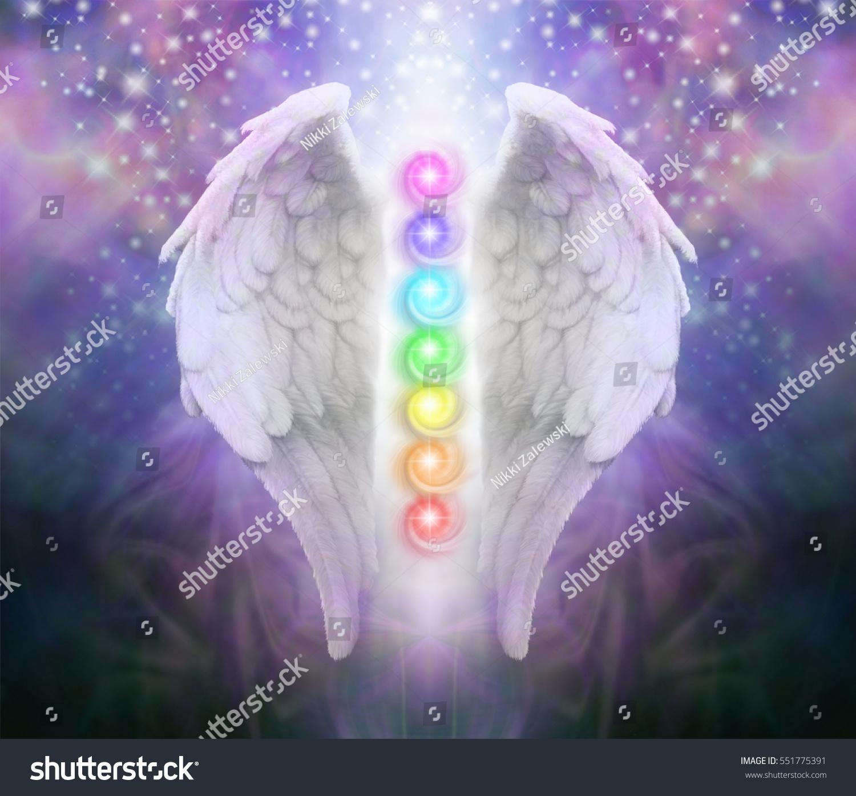 Angel Wings Chakras Darkness Light Pair Stock Illustration